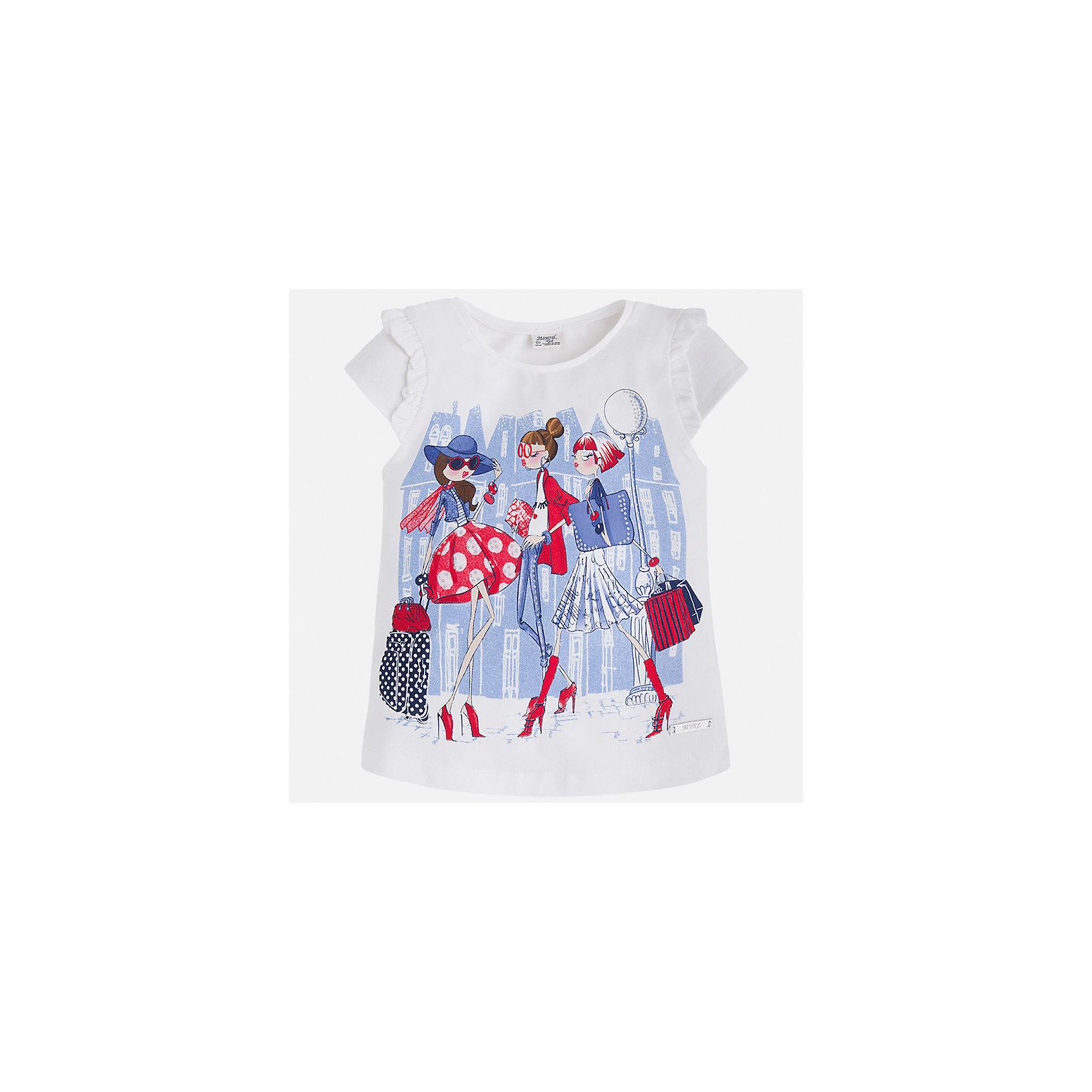 Футболка для девочки MayoralФутболки, поло и топы<br>Характеристики товара:<br><br>• цвет: белый<br>• состав: 98% хлопок, 2% эластан<br>• принт<br>• оборки на рукавах<br>• короткие рукава<br>• округлый горловой вырез<br>• страна бренда: Испания<br><br>Стильная качественная футболка для девочки поможет разнообразить гардероб ребенка и украсить наряд. Она отлично сочетается и с юбками, и с шортами, и с брюками. Универсальный цвет позволяет подобрать к вещи низ практически любой расцветки. Интересная отделка модели делает её нарядной и оригинальной. В составе ткани преобладает натуральный хлопок, гипоаллергенный, приятный на ощупь, дышащий.<br><br>Одежда, обувь и аксессуары от испанского бренда Mayoral полюбились детям и взрослым по всему миру. Модели этой марки - стильные и удобные. Для их производства используются только безопасные, качественные материалы и фурнитура. Порадуйте ребенка модными и красивыми вещами от Mayoral! <br><br>Футболку для девочки от испанского бренда Mayoral (Майорал) можно купить в нашем интернет-магазине.<br><br>Ширина мм: 199<br>Глубина мм: 10<br>Высота мм: 161<br>Вес г: 151<br>Цвет: красный<br>Возраст от месяцев: 96<br>Возраст до месяцев: 108<br>Пол: Женский<br>Возраст: Детский<br>Размер: 134,92,98,104,110,116,122,128<br>SKU: 5289307