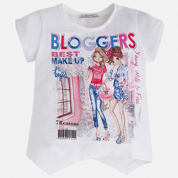 Футболка для девочки MayoralФутболки, поло и топы<br>Характеристики товара:<br><br>• цвет: белый<br>• состав: 92% хлопок, 8% эластан<br>• ассиметричный крой<br>• принт<br>• короткие рукава<br>• округлый горловой вырез<br>• страна бренда: Испания<br><br>Стильная качественная футболка для девочки поможет разнообразить гардероб ребенка и украсить наряд. Она отлично сочетается и с юбками, и с шортами, и с брюками. Универсальный цвет позволяет подобрать к вещи низ практически любой расцветки. Интересная отделка модели делает её нарядной и оригинальной. В составе ткани преобладает натуральный хлопок, гипоаллергенный, приятный на ощупь, дышащий.<br><br>Одежда, обувь и аксессуары от испанского бренда Mayoral полюбились детям и взрослым по всему миру. Модели этой марки - стильные и удобные. Для их производства используются только безопасные, качественные материалы и фурнитура. Порадуйте ребенка модными и красивыми вещами от Mayoral! <br><br>Футболку для девочки от испанского бренда Mayoral (Майорал) можно купить в нашем интернет-магазине.<br>Ширина мм: 199; Глубина мм: 10; Высота мм: 161; Вес г: 151; Цвет: красный; Возраст от месяцев: 18; Возраст до месяцев: 24; Пол: Женский; Возраст: Детский; Размер: 92,134,98,104,110,116,122,128; SKU: 5289388;