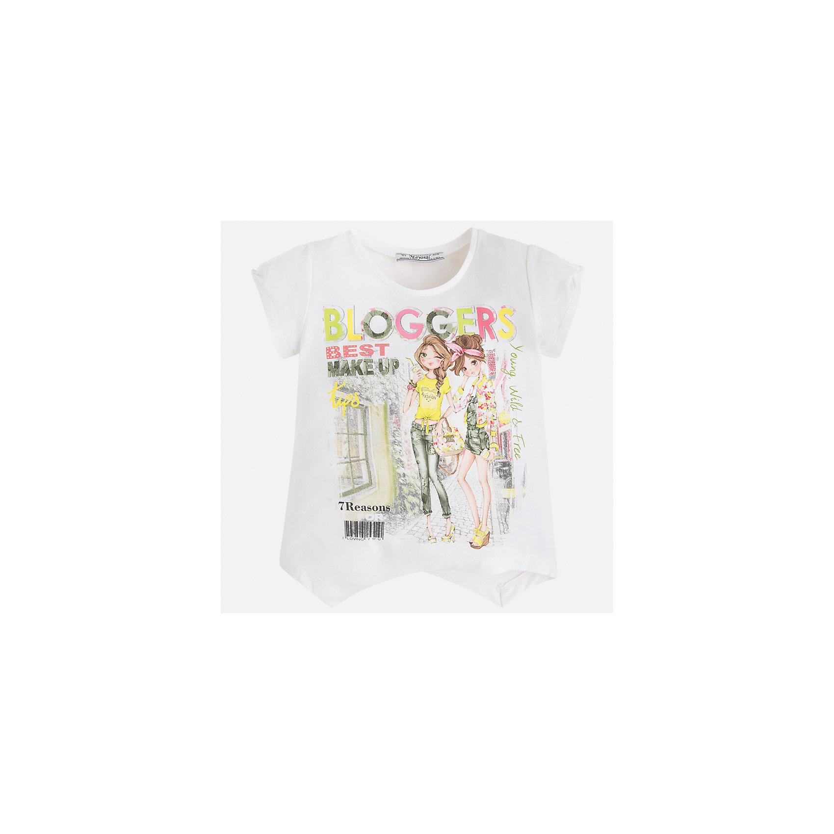 Футболка для девочки MayoralФутболки, поло и топы<br>Характеристики товара:<br><br>• цвет: белый<br>• состав: 92% хлопок, 8% эластан<br>• ассиметричный крой<br>• принт<br>• короткие рукава<br>• округлый горловой вырез<br>• страна бренда: Испания<br><br>Стильная качественная футболка для девочки поможет разнообразить гардероб ребенка и украсить наряд. Она отлично сочетается и с юбками, и с шортами, и с брюками. Универсальный цвет позволяет подобрать к вещи низ практически любой расцветки. Интересная отделка модели делает её нарядной и оригинальной. В составе ткани преобладает натуральный хлопок, гипоаллергенный, приятный на ощупь, дышащий.<br><br>Одежда, обувь и аксессуары от испанского бренда Mayoral полюбились детям и взрослым по всему миру. Модели этой марки - стильные и удобные. Для их производства используются только безопасные, качественные материалы и фурнитура. Порадуйте ребенка модными и красивыми вещами от Mayoral! <br><br>Футболку для девочки от испанского бренда Mayoral (Майорал) можно купить в нашем интернет-магазине.<br><br>Ширина мм: 199<br>Глубина мм: 10<br>Высота мм: 161<br>Вес г: 151<br>Цвет: зеленый<br>Возраст от месяцев: 96<br>Возраст до месяцев: 108<br>Пол: Женский<br>Возраст: Детский<br>Размер: 134,92,98,104,110,116,122,128<br>SKU: 5289397
