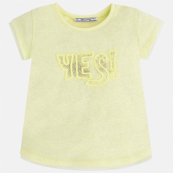 Футболка для девочки MayoralФутболки, поло и топы<br>Характеристики товара:<br><br>• цвет: желтый<br>• состав: 50% хлопок, 50% полиэстер<br>• вышивка<br>• мягкая отделка ворота<br>• короткие рукава<br>• округлый горловой вырез<br>• страна бренда: Испания<br><br>Стильная качественная футболка для девочки поможет разнообразить гардероб ребенка и украсить наряд. Она отлично сочетается и с юбками, и с шортами, и с брюками. Универсальный цвет позволяет подобрать к вещи низ практически любой расцветки. Интересная отделка модели делает её нарядной и оригинальной. В составе ткани преобладает натуральный хлопок, гипоаллергенный, приятный на ощупь, дышащий.<br><br>Одежда, обувь и аксессуары от испанского бренда Mayoral полюбились детям и взрослым по всему миру. Модели этой марки - стильные и удобные. Для их производства используются только безопасные, качественные материалы и фурнитура. Порадуйте ребенка модными и красивыми вещами от Mayoral! <br><br>Футболку для девочки от испанского бренда Mayoral (Майорал) можно купить в нашем интернет-магазине.<br><br>Ширина мм: 199<br>Глубина мм: 10<br>Высота мм: 161<br>Вес г: 151<br>Цвет: желтый<br>Возраст от месяцев: 18<br>Возраст до месяцев: 24<br>Пол: Женский<br>Возраст: Детский<br>Размер: 92,134,128,122,116,110,104,98<br>SKU: 5289416