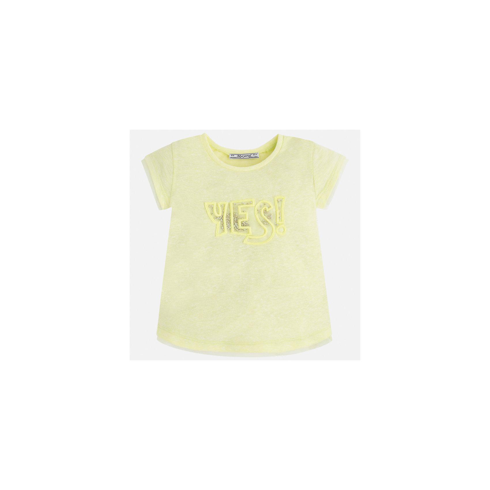 Футболка для девочки MayoralФутболки, поло и топы<br>Характеристики товара:<br><br>• цвет: желтый<br>• состав: 50% хлопок, 50% полиэстер<br>• вышивка<br>• мягкая отделка ворота<br>• короткие рукава<br>• округлый горловой вырез<br>• страна бренда: Испания<br><br>Стильная качественная футболка для девочки поможет разнообразить гардероб ребенка и украсить наряд. Она отлично сочетается и с юбками, и с шортами, и с брюками. Универсальный цвет позволяет подобрать к вещи низ практически любой расцветки. Интересная отделка модели делает её нарядной и оригинальной. В составе ткани преобладает натуральный хлопок, гипоаллергенный, приятный на ощупь, дышащий.<br><br>Одежда, обувь и аксессуары от испанского бренда Mayoral полюбились детям и взрослым по всему миру. Модели этой марки - стильные и удобные. Для их производства используются только безопасные, качественные материалы и фурнитура. Порадуйте ребенка модными и красивыми вещами от Mayoral! <br><br>Футболку для девочки от испанского бренда Mayoral (Майорал) можно купить в нашем интернет-магазине.<br><br>Ширина мм: 199<br>Глубина мм: 10<br>Высота мм: 161<br>Вес г: 151<br>Цвет: желтый<br>Возраст от месяцев: 84<br>Возраст до месяцев: 96<br>Пол: Женский<br>Возраст: Детский<br>Размер: 116,122,128,134,92,98,104,110<br>SKU: 5289416