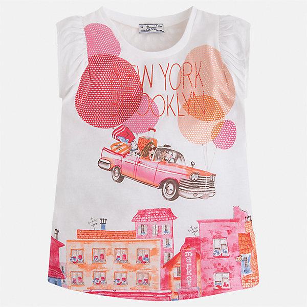 Футболка для девочки MayoralФутболки, поло и топы<br>Характеристики товара:<br><br>• цвет: белый/розовый<br>• состав: 50% хлопок, 50% полиэстер<br>• эластичный материал<br>• декорирована принтом<br>• расширена снизу<br>• присборены плечи<br>• округлый горловой вырез<br>• страна бренда: Испания<br><br>Стильная качественная футболка для девочки поможет разнообразить гардероб ребенка и украсить наряд. Она отлично сочетается и с юбками, и с шортами, и с брюками. Универсальный цвет позволяет подобрать к вещи низ практически любой расцветки. Интересная отделка модели делает её нарядной и оригинальной. В составе материала есть натуральный хлопок, гипоаллергенный, приятный на ощупь, дышащий.<br><br>Одежда, обувь и аксессуары от испанского бренда Mayoral полюбились детям и взрослым по всему миру. Модели этой марки - стильные и удобные. Для их производства используются только безопасные, качественные материалы и фурнитура. Порадуйте ребенка модными и красивыми вещами от Mayoral! <br><br>Футболку для девочки от испанского бренда Mayoral (Майорал) можно купить в нашем интернет-магазине.<br>Ширина мм: 199; Глубина мм: 10; Высота мм: 161; Вес г: 151; Цвет: розовый; Возраст от месяцев: 18; Возраст до месяцев: 24; Пол: Женский; Возраст: Детский; Размер: 92,116,134,128,122,110,104,98; SKU: 5289587;