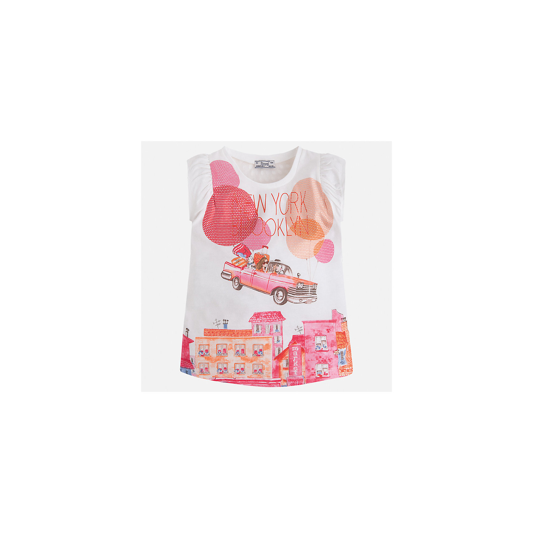 Футболка для девочки MayoralФутболки, поло и топы<br>Характеристики товара:<br><br>• цвет: белый/розовый<br>• состав: 50% хлопок, 50% полиэстер<br>• эластичный материал<br>• декорирована принтом<br>• расширена снизу<br>• присборены плечи<br>• округлый горловой вырез<br>• страна бренда: Испания<br><br>Стильная качественная футболка для девочки поможет разнообразить гардероб ребенка и украсить наряд. Она отлично сочетается и с юбками, и с шортами, и с брюками. Универсальный цвет позволяет подобрать к вещи низ практически любой расцветки. Интересная отделка модели делает её нарядной и оригинальной. В составе материала есть натуральный хлопок, гипоаллергенный, приятный на ощупь, дышащий.<br><br>Одежда, обувь и аксессуары от испанского бренда Mayoral полюбились детям и взрослым по всему миру. Модели этой марки - стильные и удобные. Для их производства используются только безопасные, качественные материалы и фурнитура. Порадуйте ребенка модными и красивыми вещами от Mayoral! <br><br>Футболку для девочки от испанского бренда Mayoral (Майорал) можно купить в нашем интернет-магазине.<br><br>Ширина мм: 199<br>Глубина мм: 10<br>Высота мм: 161<br>Вес г: 151<br>Цвет: розовый<br>Возраст от месяцев: 96<br>Возраст до месяцев: 108<br>Пол: Женский<br>Возраст: Детский<br>Размер: 134,92,98,104,110,116,122,128<br>SKU: 5289587