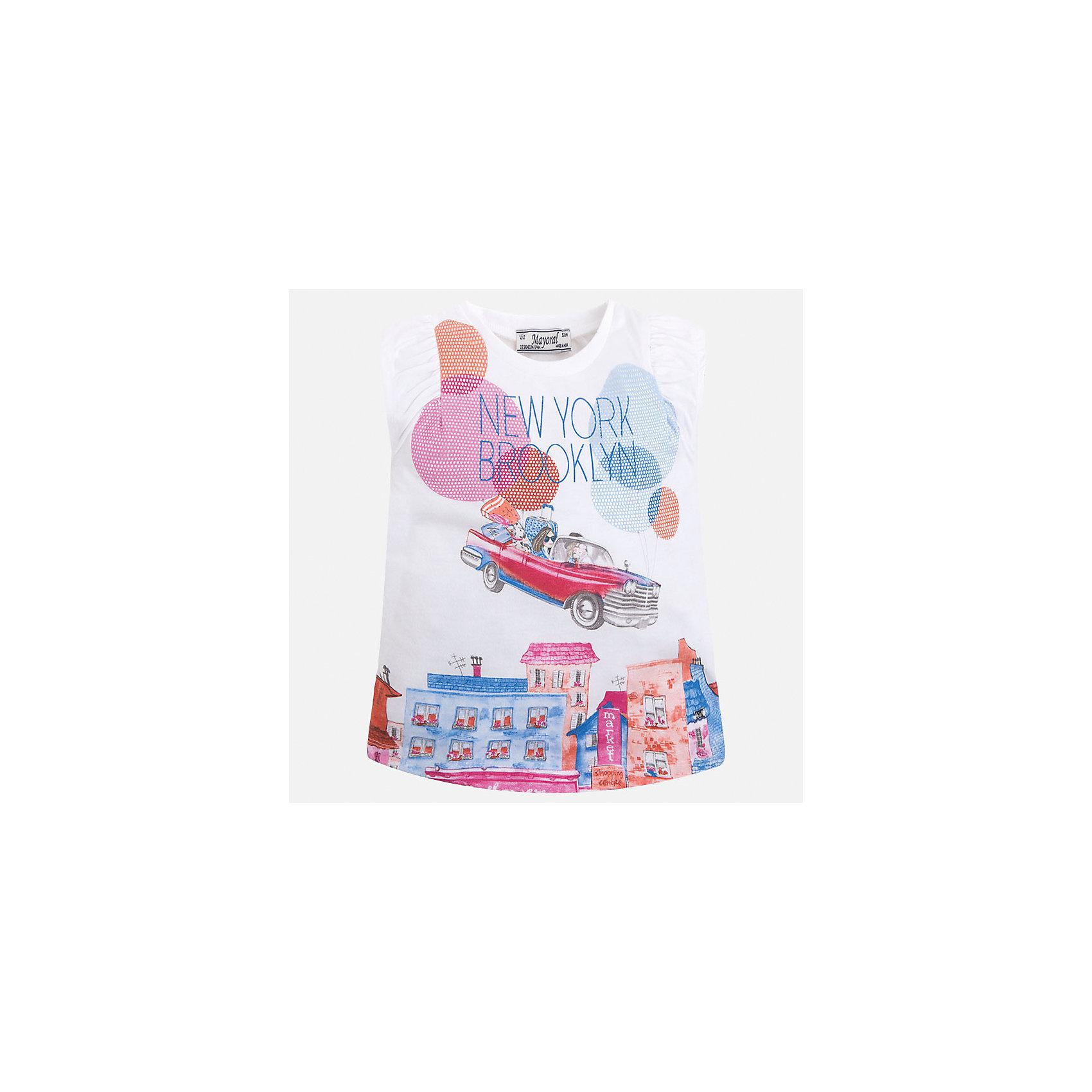 Футболка для девочки MayoralХарактеристики товара:<br><br>• цвет: белый принт<br>• состав: 50% хлопок, 50% полиэстер<br>• эластичный материал<br>• декорирована принтом<br>• расширена снизу<br>• присборены плечи<br>• округлый горловой вырез<br>• страна бренда: Испания<br><br>Стильная качественная футболка для девочки поможет разнообразить гардероб ребенка и украсить наряд. Она отлично сочетается и с юбками, и с шортами, и с брюками. Универсальный цвет позволяет подобрать к вещи низ практически любой расцветки. Интересная отделка модели делает её нарядной и оригинальной. В составе материала есть натуральный хлопок, гипоаллергенный, приятный на ощупь, дышащий.<br><br>Одежда, обувь и аксессуары от испанского бренда Mayoral полюбились детям и взрослым по всему миру. Модели этой марки - стильные и удобные. Для их производства используются только безопасные, качественные материалы и фурнитура. Порадуйте ребенка модными и красивыми вещами от Mayoral! <br><br>Футболку для девочки от испанского бренда Mayoral (Майорал) можно купить в нашем интернет-магазине.<br><br>Ширина мм: 199<br>Глубина мм: 10<br>Высота мм: 161<br>Вес г: 151<br>Цвет: красный<br>Возраст от месяцев: 24<br>Возраст до месяцев: 36<br>Пол: Женский<br>Возраст: Детский<br>Размер: 98,134,92,104,110,116,122,128<br>SKU: 5289596
