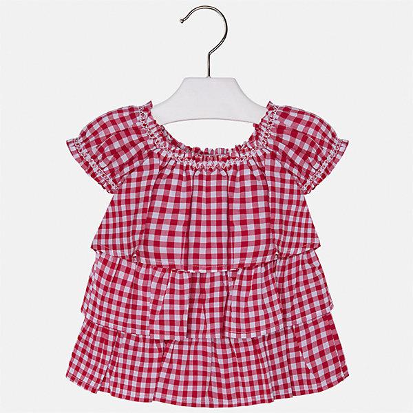 Блузка для девочки MayoralБлузки и рубашки<br>Характеристики товара:<br><br>• цвет: красный<br>• состав: 100% хлопок<br>• легкий материал<br>• в клетку<br>• расширена снизу<br>• объемные детали<br>• округлый горловой вырез<br>• страна бренда: Испания<br><br>Модная легкая блузка для девочки поможет разнообразить гардероб ребенка и украсить наряд. Она отлично сочетается и с юбками, и с шортами, и с брюками. Универсальный цвет позволяет подобрать к вещи низ практически любой расцветки. Интересный крой модели делает её нарядной и оригинальной. В составе материала - только натуральный хлопок, гипоаллергенный, приятный на ощупь, дышащий.<br>Одежда, обувь и аксессуары от испанского бренда Mayoral полюбились детям и взрослым по всему миру. Модели этой марки - стильные и удобные. Для их производства используются только безопасные, качественные материалы и фурнитура. Порадуйте ребенка модными и красивыми вещами от Mayoral! <br><br>Блузку для девочки от испанского бренда Mayoral (Майорал) можно купить в нашем интернет-магазине.<br><br>Ширина мм: 186<br>Глубина мм: 87<br>Высота мм: 198<br>Вес г: 197<br>Цвет: красный<br>Возраст от месяцев: 18<br>Возраст до месяцев: 24<br>Пол: Женский<br>Возраст: Детский<br>Размер: 92,134,98,104,110,116,122,128<br>SKU: 5289614