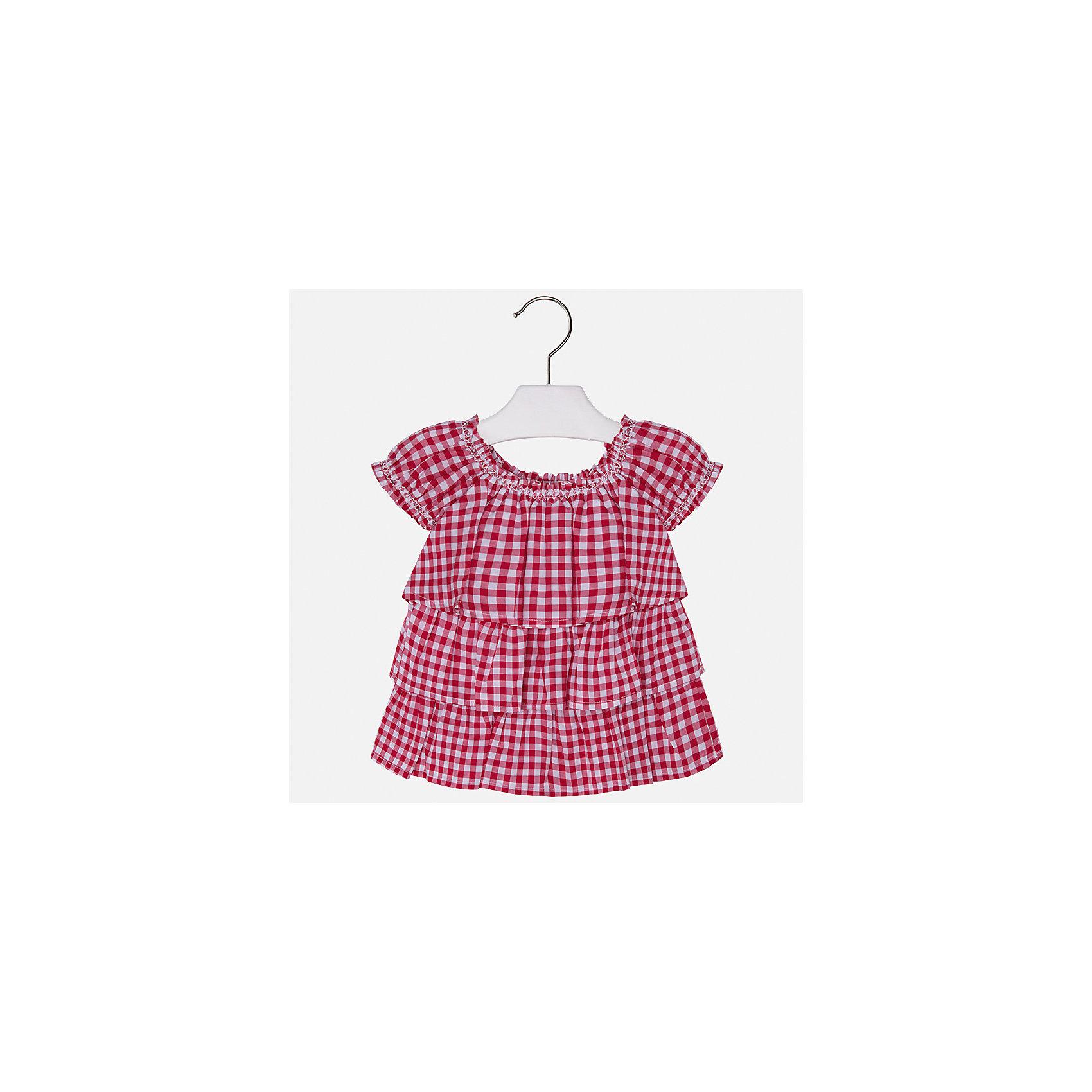 Блузка для девочки MayoralХарактеристики товара:<br><br>• цвет: красный<br>• состав: 100% хлопок<br>• легкий материал<br>• в клетку<br>• расширена снизу<br>• объемные детали<br>• округлый горловой вырез<br>• страна бренда: Испания<br><br>Модная легкая блузка для девочки поможет разнообразить гардероб ребенка и украсить наряд. Она отлично сочетается и с юбками, и с шортами, и с брюками. Универсальный цвет позволяет подобрать к вещи низ практически любой расцветки. Интересный крой модели делает её нарядной и оригинальной. В составе материала - только натуральный хлопок, гипоаллергенный, приятный на ощупь, дышащий.<br>Одежда, обувь и аксессуары от испанского бренда Mayoral полюбились детям и взрослым по всему миру. Модели этой марки - стильные и удобные. Для их производства используются только безопасные, качественные материалы и фурнитура. Порадуйте ребенка модными и красивыми вещами от Mayoral! <br><br>Блузку для девочки от испанского бренда Mayoral (Майорал) можно купить в нашем интернет-магазине.<br><br>Ширина мм: 186<br>Глубина мм: 87<br>Высота мм: 198<br>Вес г: 197<br>Цвет: красный<br>Возраст от месяцев: 18<br>Возраст до месяцев: 24<br>Пол: Женский<br>Возраст: Детский<br>Размер: 92,134,98,104,110,116,122,128<br>SKU: 5289614