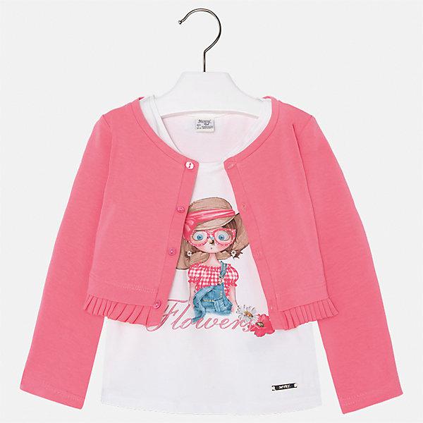 Комплект: майка и кардиган для девочки MayoralКомплекты<br>Характеристики товара:<br><br>• цвет: розовый/белый<br>• состав: 100% хлопок<br>• комплектация: майка, кардиган<br>• майка декорирована принтом<br>• кардиган с длинными рукавами <br>• застежки: пуговицы<br>• округлый горловой вырез<br>• страна бренда: Испания<br><br>Стильный качественный комплект для девочки поможет разнообразить гардероб ребенка и украсить наряд. Он отлично сочетается и с юбками, и с шортами, и с брюками. Универсальный цвет позволяет подобрать к вещам низ практически любой расцветки. Интересная отделка модели делает её нарядной и оригинальной. В составе материала - только натуральный хлопок, гипоаллергенный, приятный на ощупь, дышащий.<br><br>Одежда, обувь и аксессуары от испанского бренда Mayoral полюбились детям и взрослым по всему миру. Модели этой марки - стильные и удобные. Для их производства используются только безопасные, качественные материалы и фурнитура. Порадуйте ребенка модными и красивыми вещами от Mayoral! <br><br>Комплект: майка и кардиган для девочки от испанского бренда Mayoral (Майорал) можно купить в нашем интернет-магазине.<br><br>Ширина мм: 190<br>Глубина мм: 74<br>Высота мм: 229<br>Вес г: 236<br>Цвет: оранжевый<br>Возраст от месяцев: 36<br>Возраст до месяцев: 48<br>Пол: Женский<br>Возраст: Детский<br>Размер: 104,110,116,122,128,134,92,98<br>SKU: 5289632