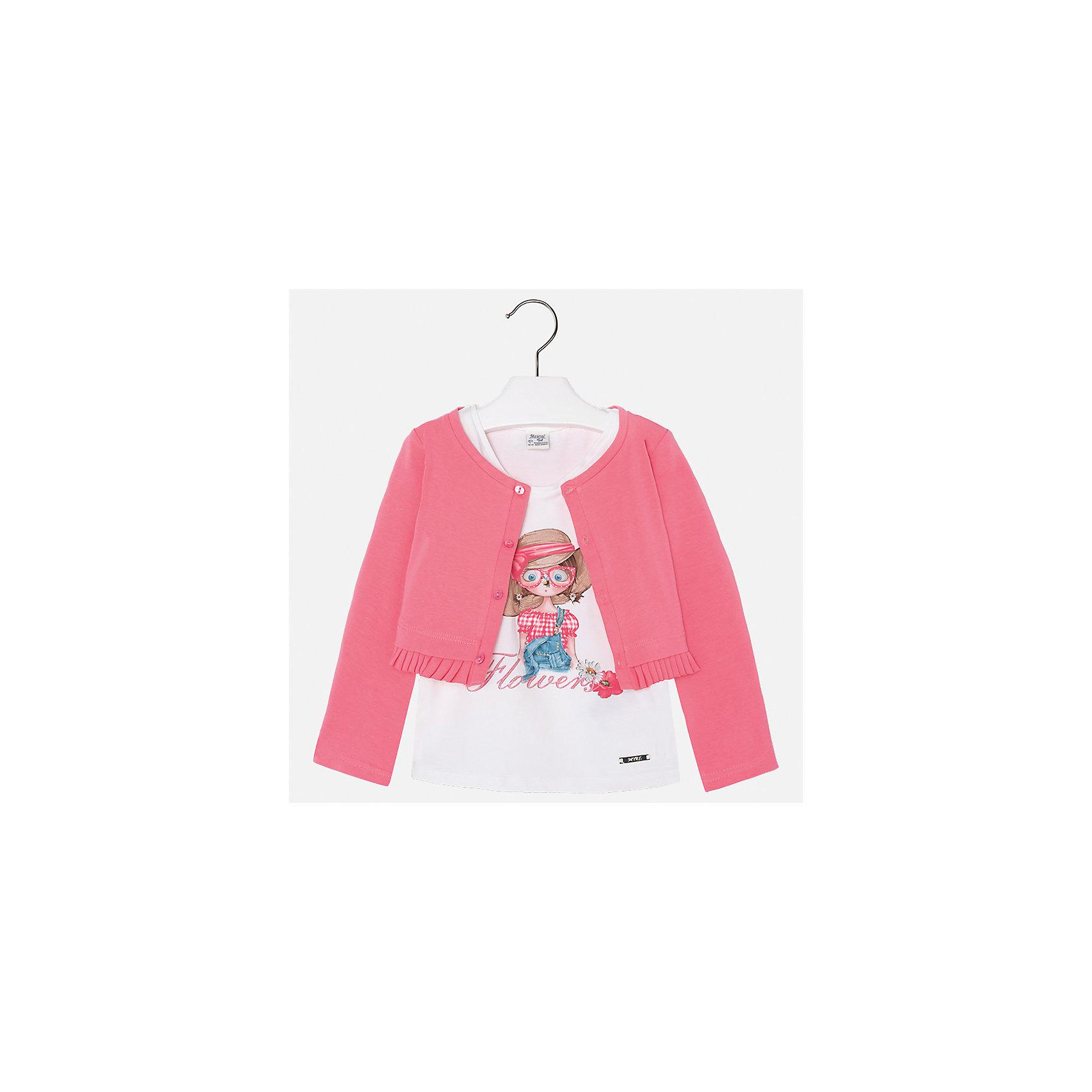 Комплект: майка и кардиган для девочки MayoralХарактеристики товара:<br><br>• цвет: розовый/белый<br>• состав: 100% хлопок<br>• комплектация: майка, кардиган<br>• майка декорирована принтом<br>• кардиган с длинными рукавами <br>• застежки: пуговицы<br>• округлый горловой вырез<br>• страна бренда: Испания<br><br>Стильный качественный комплект для девочки поможет разнообразить гардероб ребенка и украсить наряд. Он отлично сочетается и с юбками, и с шортами, и с брюками. Универсальный цвет позволяет подобрать к вещам низ практически любой расцветки. Интересная отделка модели делает её нарядной и оригинальной. В составе материала - только натуральный хлопок, гипоаллергенный, приятный на ощупь, дышащий.<br><br>Одежда, обувь и аксессуары от испанского бренда Mayoral полюбились детям и взрослым по всему миру. Модели этой марки - стильные и удобные. Для их производства используются только безопасные, качественные материалы и фурнитура. Порадуйте ребенка модными и красивыми вещами от Mayoral! <br><br>Комплект: майка и кардиган для девочки от испанского бренда Mayoral (Майорал) можно купить в нашем интернет-магазине.<br><br>Ширина мм: 190<br>Глубина мм: 74<br>Высота мм: 229<br>Вес г: 236<br>Цвет: оранжевый<br>Возраст от месяцев: 84<br>Возраст до месяцев: 96<br>Пол: Женский<br>Возраст: Детский<br>Размер: 128,134,92,98,104,110,116,122<br>SKU: 5289632