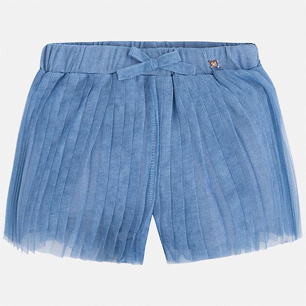 Шорты для девочки MayoralШорты, бриджи, капри<br>Характеристики товара:<br><br>• цвет: голубой<br>• состав: полиэстер, хлопок<br>• легкий материал<br>• с подкладкой<br>• пояс на резинке<br>• украшены бантиком<br>• страна бренда: Испания<br><br>Модные легкие шорты для девочки смогут разнообразить гардероб ребенка и украсить наряд. Они отлично сочетаются с майками, футболками, блузками. Красивый оттенок позволяет подобрать к вещи верх разных расцветок. Интересный крой модели делает её нарядной и оригинальной.<br> <br>Одежда, обувь и аксессуары от испанского бренда Mayoral полюбились детям и взрослым по всему миру. Модели этой марки - стильные и удобные. Для их производства используются только безопасные, качественные материалы и фурнитура. Порадуйте ребенка модными и красивыми вещами от Mayoral! <br><br>Шорты для девочки от испанского бренда Mayoral (Майорал) можно купить в нашем интернет-магазине.<br>Ширина мм: 191; Глубина мм: 10; Высота мм: 175; Вес г: 273; Цвет: голубой; Возраст от месяцев: 60; Возраст до месяцев: 72; Пол: Женский; Возраст: Детский; Размер: 116,122,128,134; SKU: 5289641;