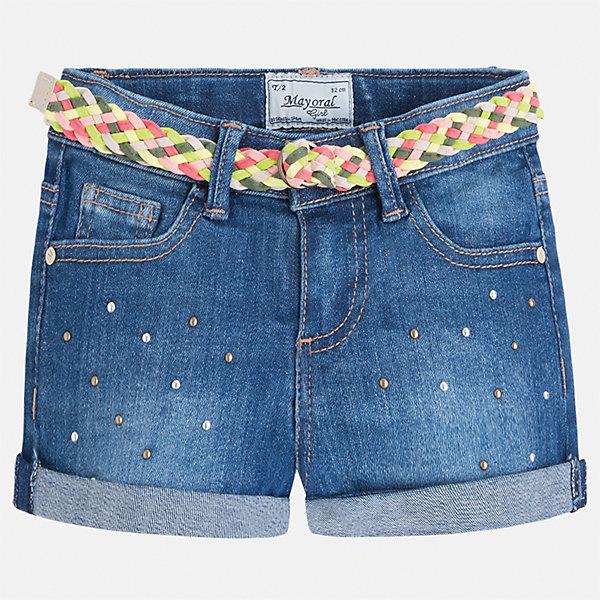 Шорты джинсовые для девочки MayoralДжинсовая одежда<br>Характеристики товара:<br><br>• цвет: синий<br>• состав: 99% хлопок, 1% эластан<br>• легкий материал<br>• с подкладкой<br>• пояс на резинке<br>• украшены бантиком<br>• страна бренда: Испания<br><br>Модные легкие шорты для девочки смогут разнообразить гардероб ребенка и украсить наряд. Они отлично сочетаются с майками, футболками, блузками.Интересный крой модели делает её нарядной и оригинальной. <br><br>Шорты для девочки от испанского бренда Mayoral (Майорал) можно купить в нашем интернет-магазине.<br><br>Ширина мм: 191<br>Глубина мм: 10<br>Высота мм: 175<br>Вес г: 273<br>Цвет: синий<br>Возраст от месяцев: 96<br>Возраст до месяцев: 108<br>Пол: Женский<br>Возраст: Детский<br>Размер: 110,116,122,128,134,98,104<br>SKU: 5289651
