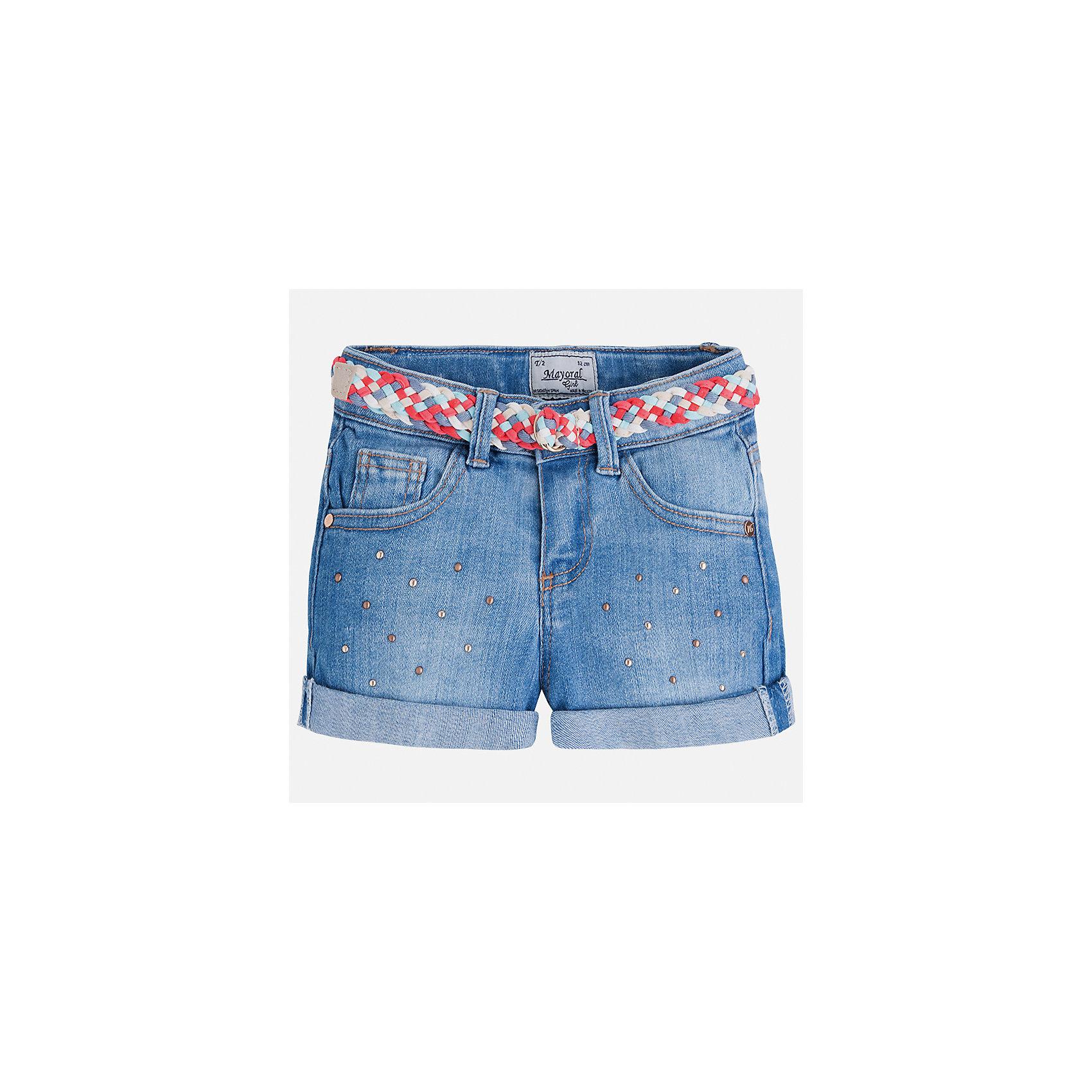Шорты джинсовые для девочки MayoralШорты, бриджи, капри<br>Характеристики товара:<br><br>• цвет: голубой<br>• состав: 99% хлопок, 1% эластан<br>• легкий материал<br>• с подкладкой<br>• пояс на резинке<br>• украшены бантиком<br>• страна бренда: Испания<br><br>Модные легкие шорты для девочки смогут разнообразить гардероб ребенка и украсить наряд. Они отлично сочетаются с майками, футболками, блузками.Интересный крой модели делает её нарядной и оригинальной. <br><br>Шорты для девочки от испанского бренда Mayoral (Майорал) можно купить в нашем интернет-магазине.<br><br>Ширина мм: 191<br>Глубина мм: 10<br>Высота мм: 175<br>Вес г: 273<br>Цвет: синий<br>Возраст от месяцев: 84<br>Возраст до месяцев: 96<br>Пол: Женский<br>Возраст: Детский<br>Размер: 128,98,104,110,116,122,134<br>SKU: 5289659