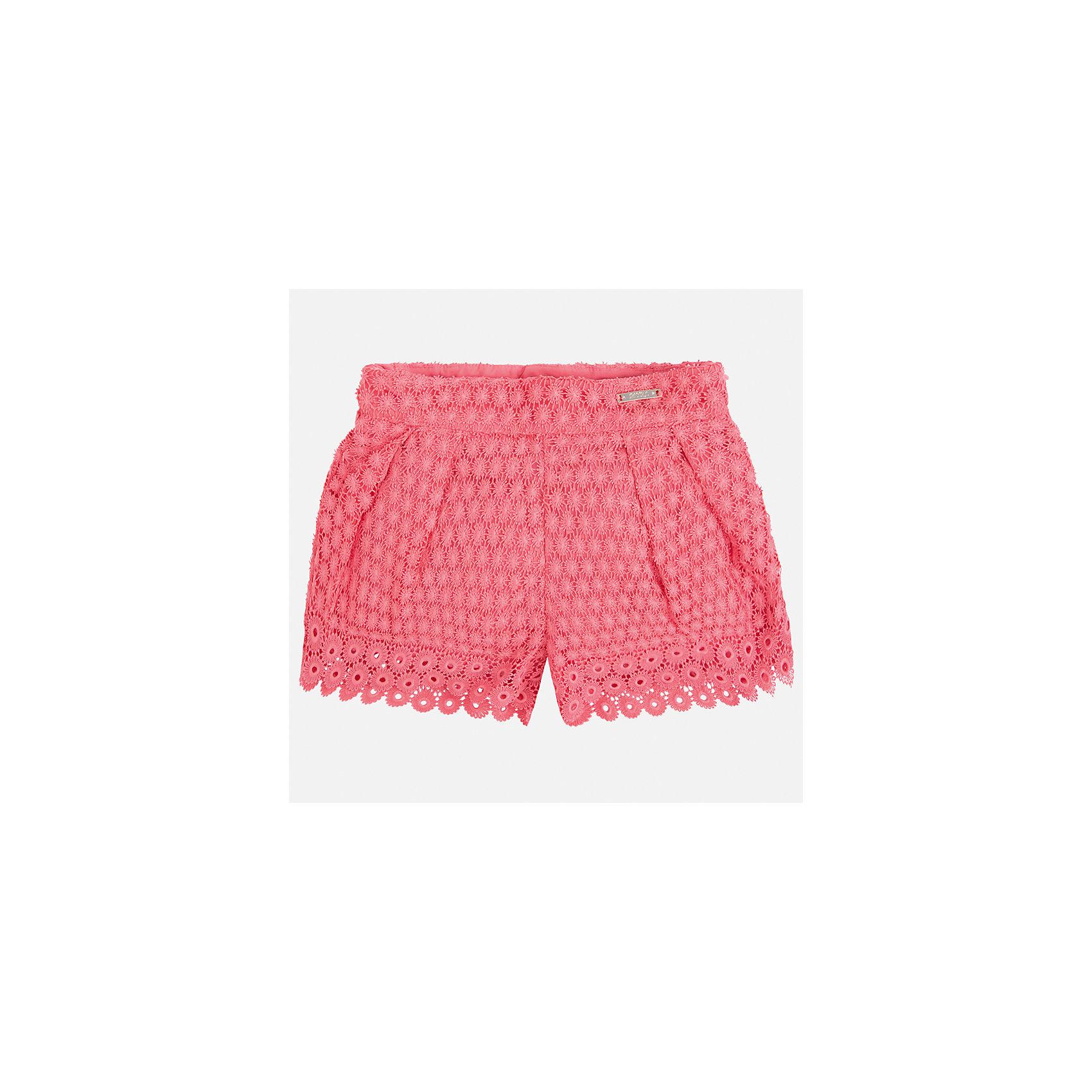 Шорты для девочки MayoralХарактеристики товара:<br><br>• цвет: оранжевый<br>• состав: верх - 100% полиэстер, подкладка - 80% полиэстер, 20% хлопок<br>• легкий материал<br>• с подкладкой<br>• пояс на резинке<br>• ажурный верх<br>• страна бренда: Испания<br><br>Модные легкие шорты для девочки смогут разнообразить гардероб ребенка и украсить наряд. Они отлично сочетаются с майками, футболками, блузками. Красивый оттенок позволяет подобрать к вещи верх разных расцветок. Интересный крой модели делает её нарядной и оригинальной. <br>Одежда, обувь и аксессуары от испанского бренда Mayoral полюбились детям и взрослым по всему миру. Модели этой марки - стильные и удобные. Для их производства используются только безопасные, качественные материалы и фурнитура. Порадуйте ребенка модными и красивыми вещами от Mayoral! <br><br>Шорты для девочки от испанского бренда Mayoral (Майорал) можно купить в нашем интернет-магазине.<br><br>Ширина мм: 191<br>Глубина мм: 10<br>Высота мм: 175<br>Вес г: 273<br>Цвет: розовый<br>Возраст от месяцев: 96<br>Возраст до месяцев: 108<br>Пол: Женский<br>Возраст: Детский<br>Размер: 134,98,104,110,116,122,128<br>SKU: 5289667
