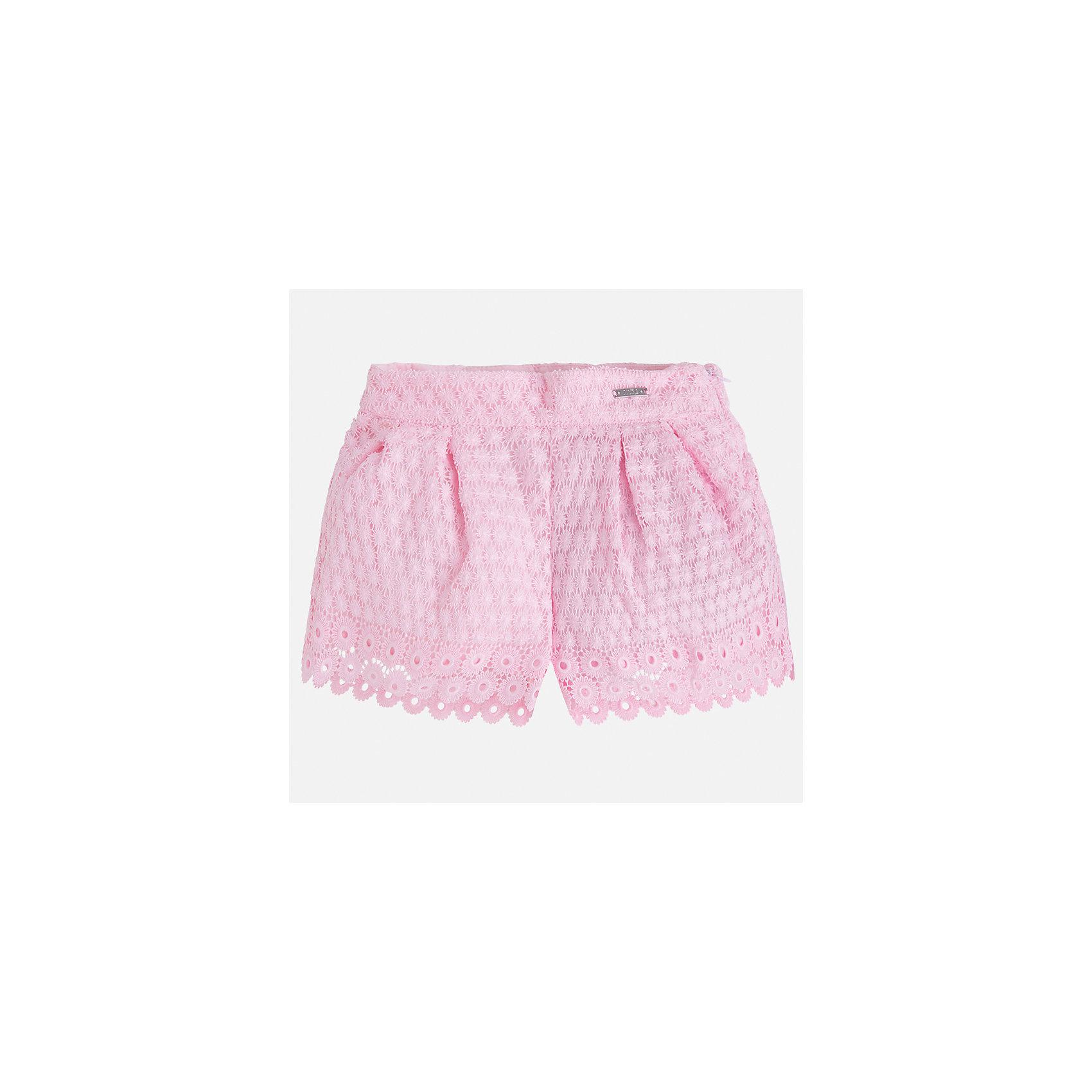 Шорты для девочки MayoralШорты, бриджи, капри<br>Характеристики товара:<br><br>• цвет: розовый<br>• состав: верх - 100% полиэстер, подкладка - 80% полиэстер, 20% хлопок<br>• легкий материал<br>• с подкладкой<br>• пояс на резинке<br>• ажурный верх<br>• страна бренда: Испания<br><br>Модные легкие шорты для девочки смогут разнообразить гардероб ребенка и украсить наряд. Они отлично сочетаются с майками, футболками, блузками. Красивый оттенок позволяет подобрать к вещи верх разных расцветок. Интересный крой модели делает её нарядной и оригинальной. <br>Одежда, обувь и аксессуары от испанского бренда Mayoral полюбились детям и взрослым по всему миру. Модели этой марки - стильные и удобные. Для их производства используются только безопасные, качественные материалы и фурнитура. Порадуйте ребенка модными и красивыми вещами от Mayoral! <br><br>Шорты для девочки от испанского бренда Mayoral (Майорал) можно купить в нашем интернет-магазине.<br><br>Ширина мм: 191<br>Глубина мм: 10<br>Высота мм: 175<br>Вес г: 273<br>Цвет: розовый<br>Возраст от месяцев: 96<br>Возраст до месяцев: 108<br>Пол: Женский<br>Возраст: Детский<br>Размер: 134,98,104,110,116,122,128<br>SKU: 5289683