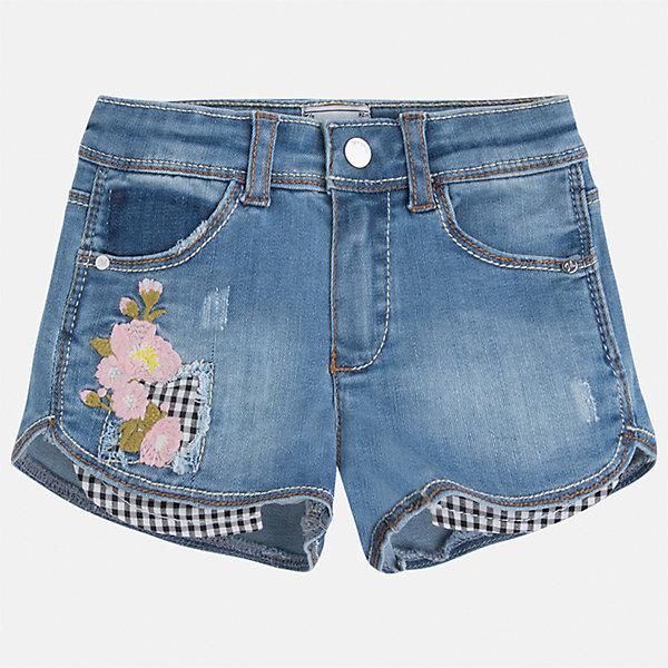Шорты джинсовые для девочки MayoralШорты, бриджи, капри<br>Характеристики товара:<br><br>• цвет: синий<br>• состав: 100% хлопок<br>• ткань с принтом<br>• пояс на резинке<br>• декоративная складка на штанинах<br>• страна бренда: Испания<br><br>Модные легкие шорты для девочки смогут разнообразить гардероб ребенка и украсить наряд. Они отлично сочетаются с майками, футболками, блузками. Красивый оттенок позволяет подобрать к вещи верх разных расцветок. Интересный крой модели делает её нарядной и оригинальной. В составе материала - только натуральный хлопок, гипоаллергенный, приятный на ощупь, дышащий.<br>Одежда, обувь и аксессуары от испанского бренда Mayoral полюбились детям и взрослым по всему миру. Модели этой марки - стильные и удобные. Для их производства используются только безопасные, качественные материалы и фурнитура. Порадуйте ребенка модными и красивыми вещами от Mayoral! <br><br>Шорты джинсовые для девочки от испанского бренда Mayoral (Майорал) можно купить в нашем интернет-магазине.<br><br>Ширина мм: 191<br>Глубина мм: 10<br>Высота мм: 175<br>Вес г: 273<br>Цвет: синий<br>Возраст от месяцев: 84<br>Возраст до месяцев: 96<br>Пол: Женский<br>Возраст: Детский<br>Размер: 128,122,116,110,104,98,92,134<br>SKU: 5289771