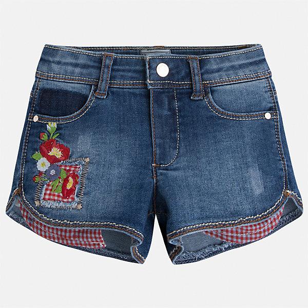 Шорты джинсовые для девочки MayoralДжинсовая одежда<br>Характеристики товара:<br><br>• цвет: синий<br>• состав: 81% хлопок, 17% полиэстер, 2% эластан<br>• карманы<br>• украшены вышивкой<br>• застежка6 пуговица, молния<br>• шлевки<br>• страна бренда: Испания<br><br>Стильные джинсовые шорты для девочки смогут разнообразить гардероб ребенка и украсить наряд. Они отлично сочетаются с майками, футболками, блузками. Красивый оттенок позволяет подобрать к вещи верх разных расцветок. Интересный крой модели делает её нарядной и оригинальной. В составе материала - натуральный хлопок, гипоаллергенный, приятный на ощупь, дышащий.<br><br>Одежда, обувь и аксессуары от испанского бренда Mayoral полюбились детям и взрослым по всему миру. Модели этой марки - стильные и удобные. Для их производства используются только безопасные, качественные материалы и фурнитура. Порадуйте ребенка модными и красивыми вещами от Mayoral! <br><br>Шорты для девочки от испанского бренда Mayoral (Майорал) можно купить в нашем интернет-магазине.<br><br>Ширина мм: 191<br>Глубина мм: 10<br>Высота мм: 175<br>Вес г: 273<br>Цвет: белый<br>Возраст от месяцев: 96<br>Возраст до месяцев: 108<br>Пол: Женский<br>Возраст: Детский<br>Размер: 122,128,134,92,98,104,110,116<br>SKU: 5289789
