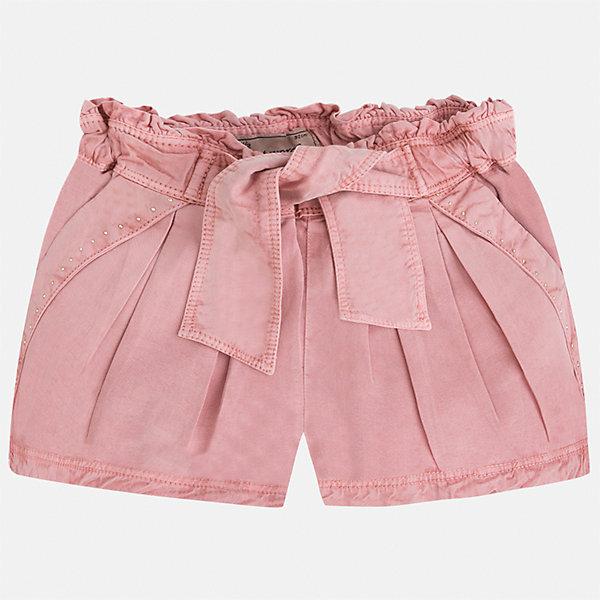 Шорты для девочки MayoralШорты, бриджи, капри<br>Характеристики товара:<br><br>• цвет: розовый<br>• состав: 100% лиоцелл<br>• стразы<br>• украшены поясом-бантом<br>• пояс на резинке<br>• декоративная складка на штанинах<br>• страна бренда: Испания<br><br>Модные легкие шорты для девочки смогут разнообразить гардероб ребенка и украсить наряд. Они отлично сочетаются с майками, футболками, блузками. Красивый оттенок позволяет подобрать к вещи верх разных расцветок. Интересный крой модели делает её нарядной и оригинальной. <br>Одежда, обувь и аксессуары от испанского бренда Mayoral полюбились детям и взрослым по всему миру. Модели этой марки - стильные и удобные. Для их производства используются только безопасные, качественные материалы и фурнитура. Порадуйте ребенка модными и красивыми вещами от Mayoral! <br><br>Шорты для девочки от испанского бренда Mayoral (Майорал) можно купить в нашем интернет-магазине.<br><br>Ширина мм: 191<br>Глубина мм: 10<br>Высота мм: 175<br>Вес г: 273<br>Цвет: розовый<br>Возраст от месяцев: 96<br>Возраст до месяцев: 108<br>Пол: Женский<br>Возраст: Детский<br>Размер: 116,122,128,134<br>SKU: 5289807