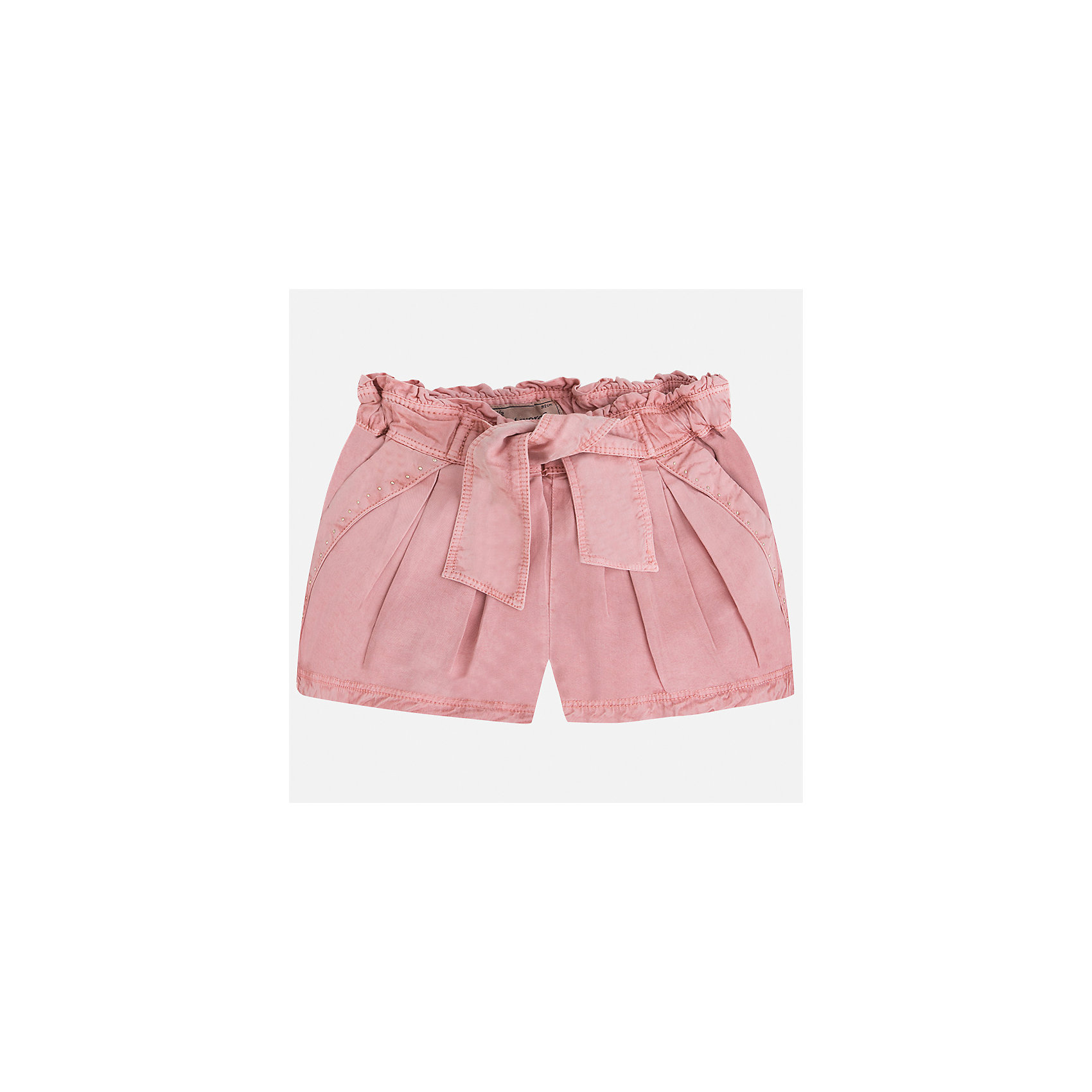 Шорты для девочки MayoralХарактеристики товара:<br><br>• цвет: розовый<br>• состав: 100% лиоцелл<br>• стразы<br>• украшены поясом-бантом<br>• пояс на резинке<br>• декоративная складка на штанинах<br>• страна бренда: Испания<br><br>Модные легкие шорты для девочки смогут разнообразить гардероб ребенка и украсить наряд. Они отлично сочетаются с майками, футболками, блузками. Красивый оттенок позволяет подобрать к вещи верх разных расцветок. Интересный крой модели делает её нарядной и оригинальной. <br>Одежда, обувь и аксессуары от испанского бренда Mayoral полюбились детям и взрослым по всему миру. Модели этой марки - стильные и удобные. Для их производства используются только безопасные, качественные материалы и фурнитура. Порадуйте ребенка модными и красивыми вещами от Mayoral! <br><br>Шорты для девочки от испанского бренда Mayoral (Майорал) можно купить в нашем интернет-магазине.<br><br>Ширина мм: 191<br>Глубина мм: 10<br>Высота мм: 175<br>Вес г: 273<br>Цвет: розовый<br>Возраст от месяцев: 60<br>Возраст до месяцев: 72<br>Пол: Женский<br>Возраст: Детский<br>Размер: 116,134,128,122<br>SKU: 5289807