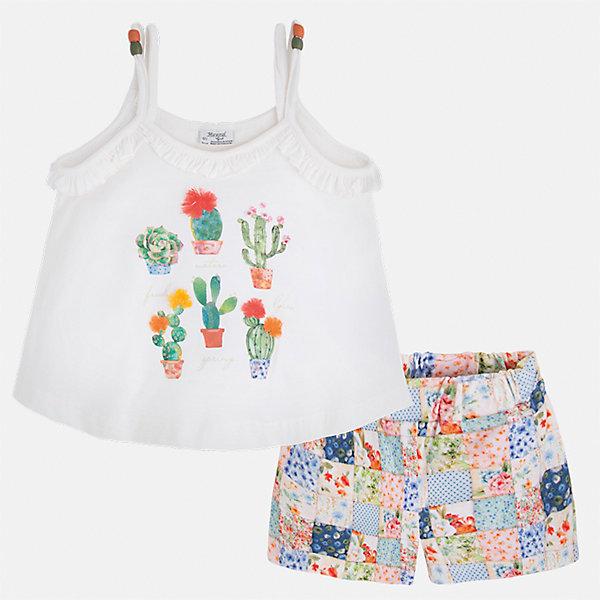 Комплект: майка и шорты для девочки MayoralКомплекты<br>Характеристики товара:<br><br>• цвет: белый/мультиколор<br>• состав: 96% хлопок, 4% эластан<br>• комплектация: майка, шорты<br>• майка декорирована принтом<br>• шорты из материала с принтом<br>• пояс на резинке<br>• страна бренда: Испания<br><br>Стильный качественный комплект для девочки поможет разнообразить гардероб ребенка и удобно одеться в теплую погоду. Он отлично сочетается с другими предметами. Универсальный цвет позволяет подобрать к вещам верхнюю одежду практически любой расцветки. Интересная отделка модели делает её нарядной и оригинальной. В составе материала - натуральный хлопок, гипоаллергенный, приятный на ощупь, дышащий.<br><br>Одежда, обувь и аксессуары от испанского бренда Mayoral полюбились детям и взрослым по всему миру. Модели этой марки - стильные и удобные. Для их производства используются только безопасные, качественные материалы и фурнитура. Порадуйте ребенка модными и красивыми вещами от Mayoral! <br><br>Комплект для девочки от испанского бренда Mayoral (Майорал) можно купить в нашем интернет-магазине.<br>Ширина мм: 191; Глубина мм: 10; Высота мм: 175; Вес г: 273; Цвет: белый; Возраст от месяцев: 84; Возраст до месяцев: 96; Пол: Женский; Возраст: Детский; Размер: 128,92,134,122,116,110,104,98; SKU: 5289821;