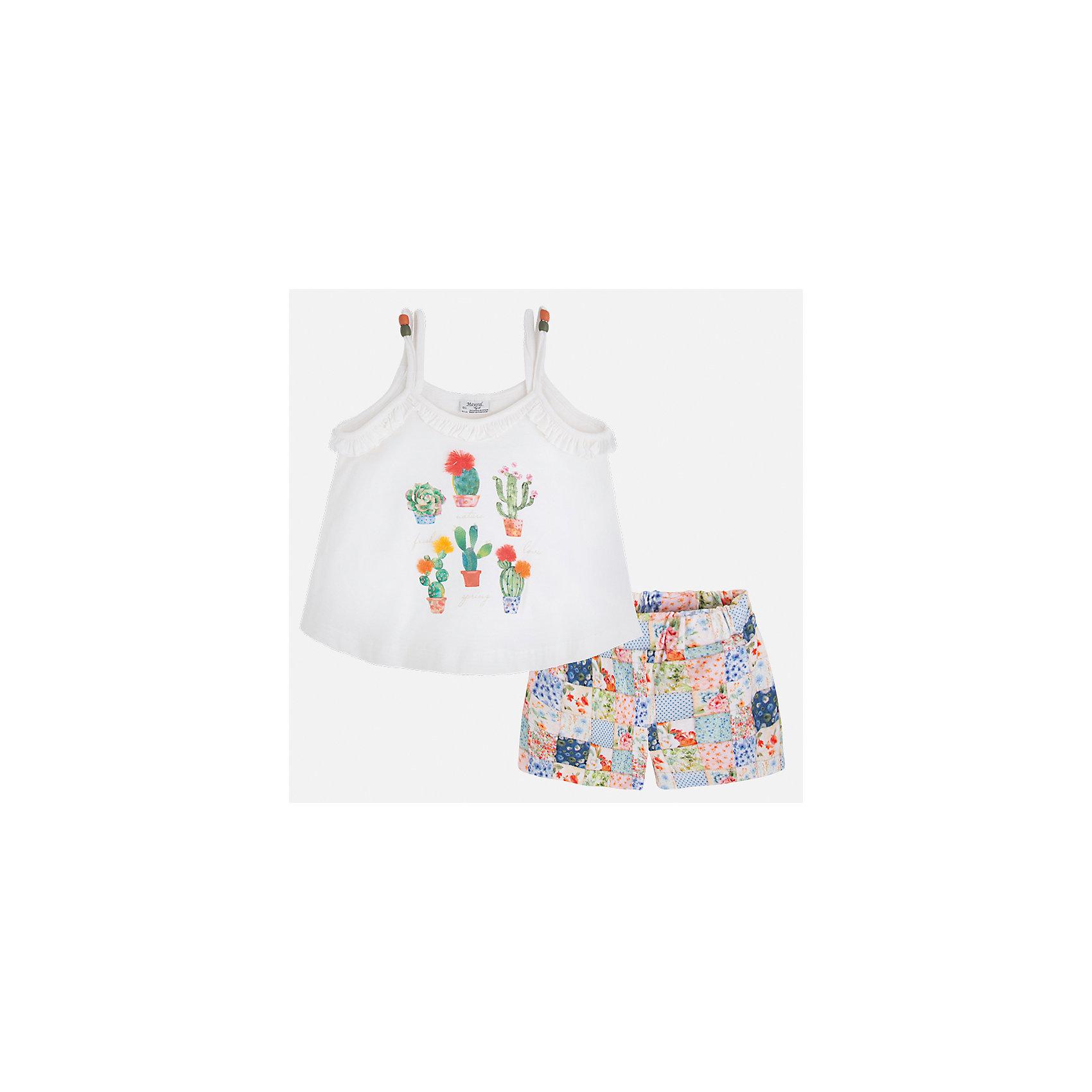 Комплект: майка и шорты для девочки MayoralКомплекты<br>Характеристики товара:<br><br>• цвет: белый/мультиколор<br>• состав: 96% хлопок, 4% эластан<br>• комплектация: майка, шорты<br>• майка декорирована принтом<br>• шорты из материала с принтом<br>• пояс на резинке<br>• страна бренда: Испания<br><br>Стильный качественный комплект для девочки поможет разнообразить гардероб ребенка и удобно одеться в теплую погоду. Он отлично сочетается с другими предметами. Универсальный цвет позволяет подобрать к вещам верхнюю одежду практически любой расцветки. Интересная отделка модели делает её нарядной и оригинальной. В составе материала - натуральный хлопок, гипоаллергенный, приятный на ощупь, дышащий.<br><br>Одежда, обувь и аксессуары от испанского бренда Mayoral полюбились детям и взрослым по всему миру. Модели этой марки - стильные и удобные. Для их производства используются только безопасные, качественные материалы и фурнитура. Порадуйте ребенка модными и красивыми вещами от Mayoral! <br><br>Комплект для девочки от испанского бренда Mayoral (Майорал) можно купить в нашем интернет-магазине.<br><br>Ширина мм: 191<br>Глубина мм: 10<br>Высота мм: 175<br>Вес г: 273<br>Цвет: разноцветный<br>Возраст от месяцев: 84<br>Возраст до месяцев: 96<br>Пол: Женский<br>Возраст: Детский<br>Размер: 128,134,92,98,104,110,116,122<br>SKU: 5289821