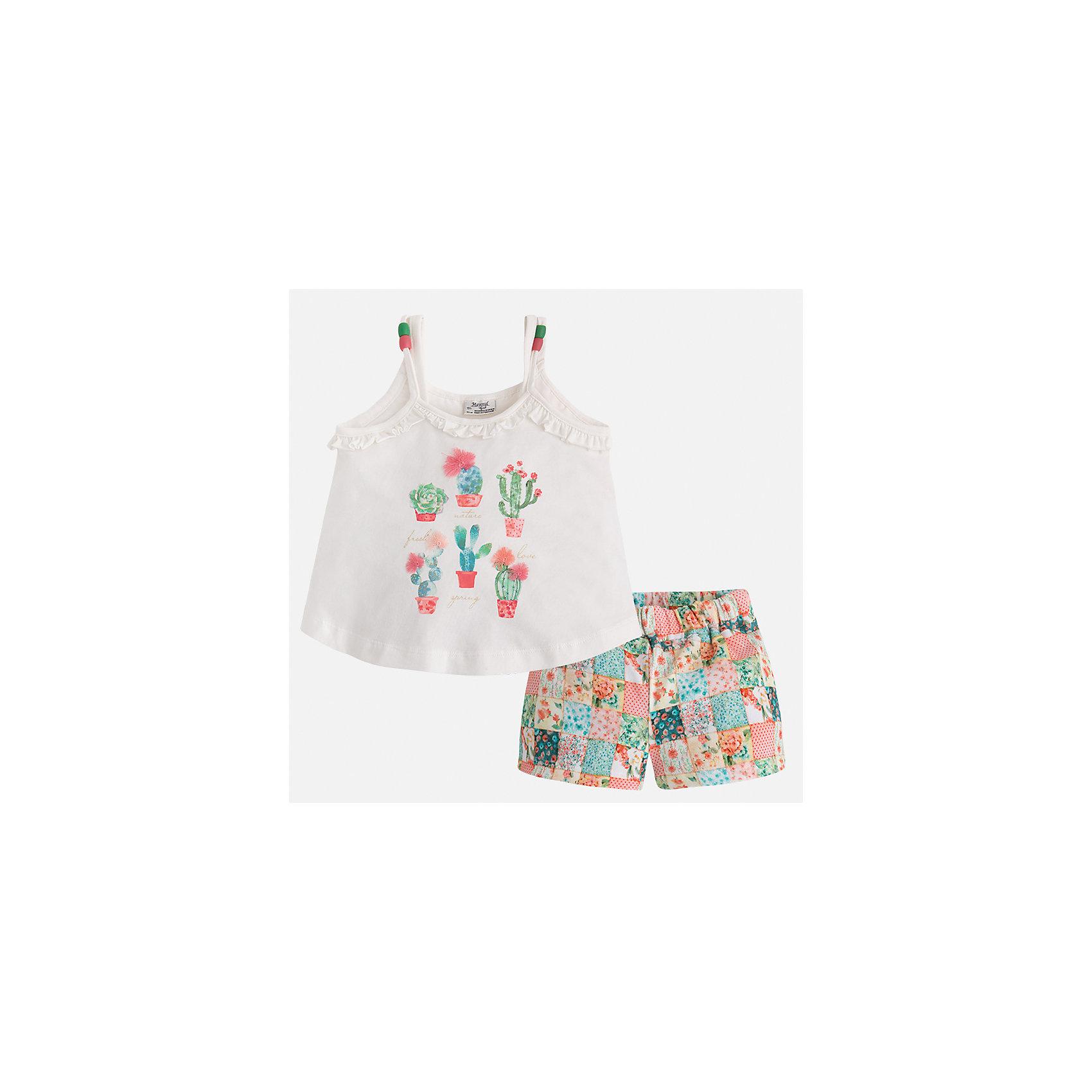 Шорты для девочки MayoralХарактеристики товара:<br><br>• цвет: белый/мультиколор<br>• состав: 96% хлопок, 4% эластан<br>• комплектация: майка, шорты<br>• майка декорирована принтом<br>• шорты из материала с принтом<br>• пояс на резинке<br>• страна бренда: Испания<br><br>Стильный качественный комплект для девочки поможет разнообразить гардероб ребенка и удобно одеться в теплую погоду. Он отлично сочетается с другими предметами. Интересная отделка модели делает её нарядной и оригинальной. В составе материала - натуральный хлопок, гипоаллергенный, приятный на ощупь, дышащий.<br><br>Комплект для девочки от испанского бренда Mayoral (Майорал) можно купить в нашем интернет-магазине.<br><br>Ширина мм: 191<br>Глубина мм: 10<br>Высота мм: 175<br>Вес г: 273<br>Цвет: оранжевый<br>Возраст от месяцев: 96<br>Возраст до месяцев: 108<br>Пол: Женский<br>Возраст: Детский<br>Размер: 98,104,110,116,122,128,134,92<br>SKU: 5289830