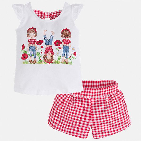 Комплект: футболка и шорты для девочки MayoralКомплекты<br>Характеристики товара:<br><br>• цвет: белый/красный<br>• состав: 95% хлопок, 5% эластан<br>• комплектация: футболка, шорты<br>• футболка декорирована принтом<br>• шорты в клетку<br>• пояс на резинке<br>• страна бренда: Испания<br><br>Стильный качественный комплект для девочки поможет разнообразить гардероб ребенка и удобно одеться в теплую погоду. Он отлично сочетается с другими предметами. Универсальный цвет позволяет подобрать к вещам верхнюю одежду практически любой расцветки. Интересная отделка модели делает её нарядной и оригинальной. В составе материала - натуральный хлопок, гипоаллергенный, приятный на ощупь, дышащий.<br><br>Одежда, обувь и аксессуары от испанского бренда Mayoral полюбились детям и взрослым по всему миру. Модели этой марки - стильные и удобные. Для их производства используются только безопасные, качественные материалы и фурнитура. Порадуйте ребенка модными и красивыми вещами от Mayoral! <br><br>Комплект для девочки от испанского бренда Mayoral (Майорал) можно купить в нашем интернет-магазине.<br><br>Ширина мм: 191<br>Глубина мм: 10<br>Высота мм: 175<br>Вес г: 273<br>Цвет: красный<br>Возраст от месяцев: 36<br>Возраст до месяцев: 48<br>Пол: Женский<br>Возраст: Детский<br>Размер: 128,122,116,110,98,104,92,134<br>SKU: 5289839