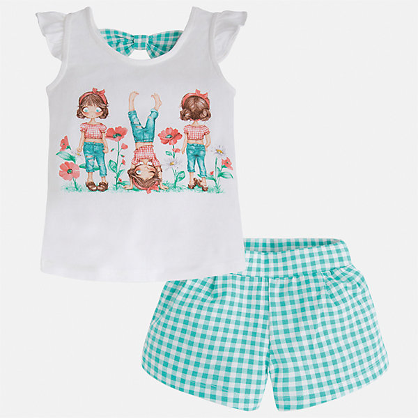 Комплект: футболка и шорты для девочки MayoralКомплекты<br>Характеристики товара:<br><br>• цвет: белый/зеленый<br>• состав: 95% хлопок, 5% эластан<br>• комплектация: футболка, шорты<br>• футболка декорирована принтом<br>• шорты в клетку<br>• пояс на резинке<br>• страна бренда: Испания<br><br>Стильный качественный комплект для девочки поможет разнообразить гардероб ребенка и удобно одеться в теплую погоду. Он отлично сочетается с другими предметами. Универсальный цвет позволяет подобрать к вещам верхнюю одежду практически любой расцветки. Интересная отделка модели делает её нарядной и оригинальной. В составе материала - натуральный хлопок, гипоаллергенный, приятный на ощупь, дышащий.<br><br>Одежда, обувь и аксессуары от испанского бренда Mayoral полюбились детям и взрослым по всему миру. Модели этой марки - стильные и удобные. Для их производства используются только безопасные, качественные материалы и фурнитура. Порадуйте ребенка модными и красивыми вещами от Mayoral! <br><br>Комплект для девочки от испанского бренда Mayoral (Майорал) можно купить в нашем интернет-магазине.<br><br>Ширина мм: 191<br>Глубина мм: 10<br>Высота мм: 175<br>Вес г: 273<br>Цвет: синий<br>Возраст от месяцев: 60<br>Возраст до месяцев: 72<br>Пол: Женский<br>Возраст: Детский<br>Размер: 116,92,134,128,122,110,104,98<br>SKU: 5289848