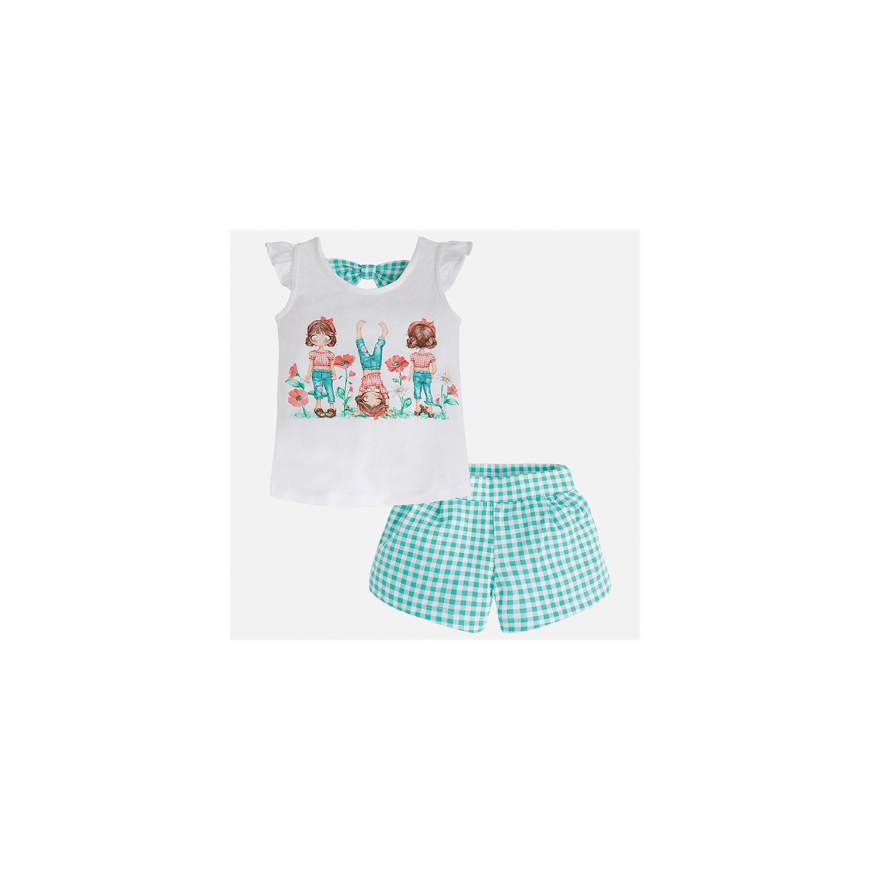 Комплект: футболка и шорты для девочки MayoralХарактеристики товара:<br><br>• цвет: белый/зеленый<br>• состав: 95% хлопок, 5% эластан<br>• комплектация: футболка, шорты<br>• футболка декорирована принтом<br>• шорты в клетку<br>• пояс на резинке<br>• страна бренда: Испания<br><br>Стильный качественный комплект для девочки поможет разнообразить гардероб ребенка и удобно одеться в теплую погоду. Он отлично сочетается с другими предметами. Универсальный цвет позволяет подобрать к вещам верхнюю одежду практически любой расцветки. Интересная отделка модели делает её нарядной и оригинальной. В составе материала - натуральный хлопок, гипоаллергенный, приятный на ощупь, дышащий.<br><br>Одежда, обувь и аксессуары от испанского бренда Mayoral полюбились детям и взрослым по всему миру. Модели этой марки - стильные и удобные. Для их производства используются только безопасные, качественные материалы и фурнитура. Порадуйте ребенка модными и красивыми вещами от Mayoral! <br><br>Комплект для девочки от испанского бренда Mayoral (Майорал) можно купить в нашем интернет-магазине.<br><br>Ширина мм: 191<br>Глубина мм: 10<br>Высота мм: 175<br>Вес г: 273<br>Цвет: синий<br>Возраст от месяцев: 96<br>Возраст до месяцев: 108<br>Пол: Женский<br>Возраст: Детский<br>Размер: 134,92,98,104,110,116,122,128<br>SKU: 5289848