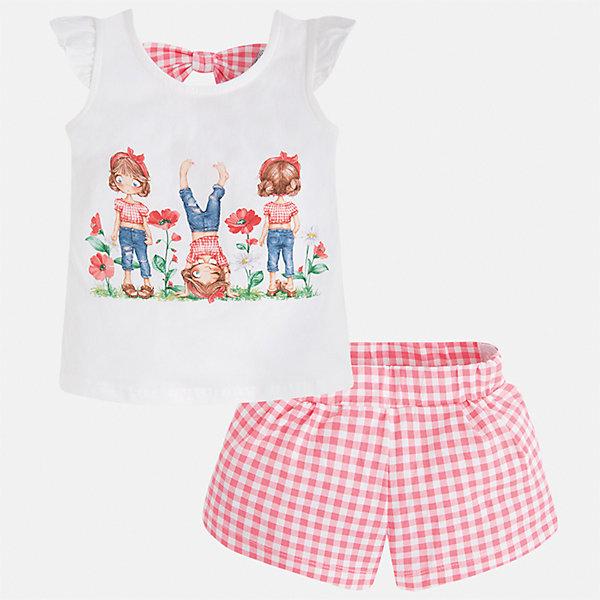 Комплект: футболка и шорты для девочки MayoralКомплекты<br>Характеристики товара:<br><br>• цвет: белый/красный<br>• состав: 95% хлопок, 5% эластан<br>• комплектация: футболка, шорты<br>• футболка декорирована принтом<br>• шорты в клетку<br>• пояс на резинке<br>• страна бренда: Испания<br><br>Стильный качественный комплект для девочки поможет разнообразить гардероб ребенка и удобно одеться в теплую погоду. Он отлично сочетается с другими предметами. Универсальный цвет позволяет подобрать к вещам верхнюю одежду практически любой расцветки. Интересная отделка модели делает её нарядной и оригинальной. В составе материала - натуральный хлопок, гипоаллергенный, приятный на ощупь, дышащий.<br><br>Одежда, обувь и аксессуары от испанского бренда Mayoral полюбились детям и взрослым по всему миру. Модели этой марки - стильные и удобные. Для их производства используются только безопасные, качественные материалы и фурнитура. Порадуйте ребенка модными и красивыми вещами от Mayoral! <br><br>Комплект для девочки от испанского бренда Mayoral (Майорал) можно купить в нашем интернет-магазине.<br><br>Ширина мм: 191<br>Глубина мм: 10<br>Высота мм: 175<br>Вес г: 273<br>Цвет: оранжевый<br>Возраст от месяцев: 48<br>Возраст до месяцев: 60<br>Пол: Женский<br>Возраст: Детский<br>Размер: 110,134,128,122,116,104,98,92<br>SKU: 5289857
