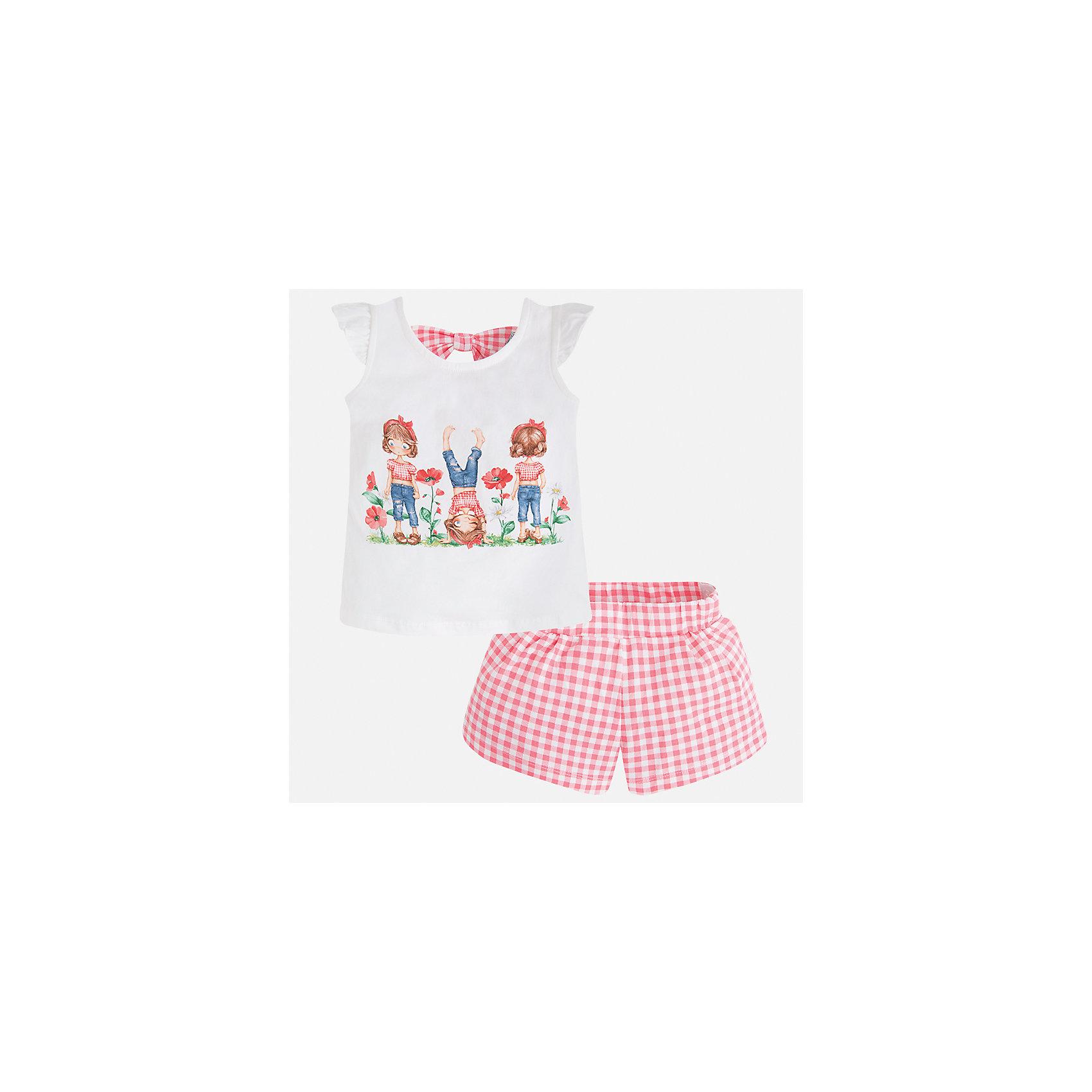 Комплект: футболка и шорты для девочки MayoralКомплекты<br>Характеристики товара:<br><br>• цвет: белый/красный<br>• состав: 95% хлопок, 5% эластан<br>• комплектация: футболка, шорты<br>• футболка декорирована принтом<br>• шорты в клетку<br>• пояс на резинке<br>• страна бренда: Испания<br><br>Стильный качественный комплект для девочки поможет разнообразить гардероб ребенка и удобно одеться в теплую погоду. Он отлично сочетается с другими предметами. Универсальный цвет позволяет подобрать к вещам верхнюю одежду практически любой расцветки. Интересная отделка модели делает её нарядной и оригинальной. В составе материала - натуральный хлопок, гипоаллергенный, приятный на ощупь, дышащий.<br><br>Одежда, обувь и аксессуары от испанского бренда Mayoral полюбились детям и взрослым по всему миру. Модели этой марки - стильные и удобные. Для их производства используются только безопасные, качественные материалы и фурнитура. Порадуйте ребенка модными и красивыми вещами от Mayoral! <br><br>Комплект для девочки от испанского бренда Mayoral (Майорал) можно купить в нашем интернет-магазине.<br><br>Ширина мм: 191<br>Глубина мм: 10<br>Высота мм: 175<br>Вес г: 273<br>Цвет: оранжевый<br>Возраст от месяцев: 18<br>Возраст до месяцев: 24<br>Пол: Женский<br>Возраст: Детский<br>Размер: 92,134,98,104,110,116,122,128<br>SKU: 5289857