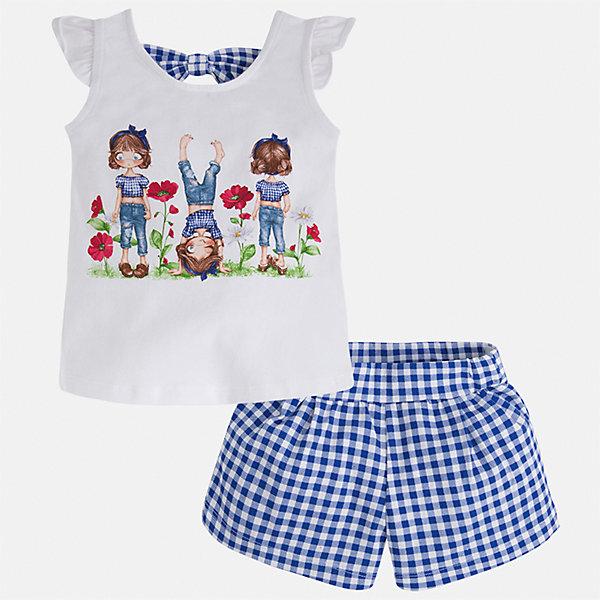 Комплект: футболка с длинным рукавом и шорты для девочки MayoralКомплекты<br>Характеристики товара:<br><br>• цвет: белый/синий<br>• состав: 95% хлопок, 5% эластан<br>• комплектация: футболка, шорты<br>• футболка декорирована принтом<br>• шорты в клетку<br>• пояс на резинке<br>• страна бренда: Испания<br><br>Стильный качественный комплект для девочки поможет разнообразить гардероб ребенка и удобно одеться в теплую погоду. Он отлично сочетается с другими предметами. Универсальный цвет позволяет подобрать к вещам верхнюю одежду практически любой расцветки. Интересная отделка модели делает её нарядной и оригинальной. В составе материала - натуральный хлопок, гипоаллергенный, приятный на ощупь, дышащий.<br><br>Одежда, обувь и аксессуары от испанского бренда Mayoral полюбились детям и взрослым по всему миру. Модели этой марки - стильные и удобные. Для их производства используются только безопасные, качественные материалы и фурнитура. Порадуйте ребенка модными и красивыми вещами от Mayoral! <br><br>Комплект для девочки от испанского бренда Mayoral (Майорал) можно купить в нашем интернет-магазине.<br><br>Ширина мм: 191<br>Глубина мм: 10<br>Высота мм: 175<br>Вес г: 273<br>Цвет: синий<br>Возраст от месяцев: 18<br>Возраст до месяцев: 24<br>Пол: Женский<br>Возраст: Детский<br>Размер: 92,134,128,122,116,110,104,98<br>SKU: 5289866