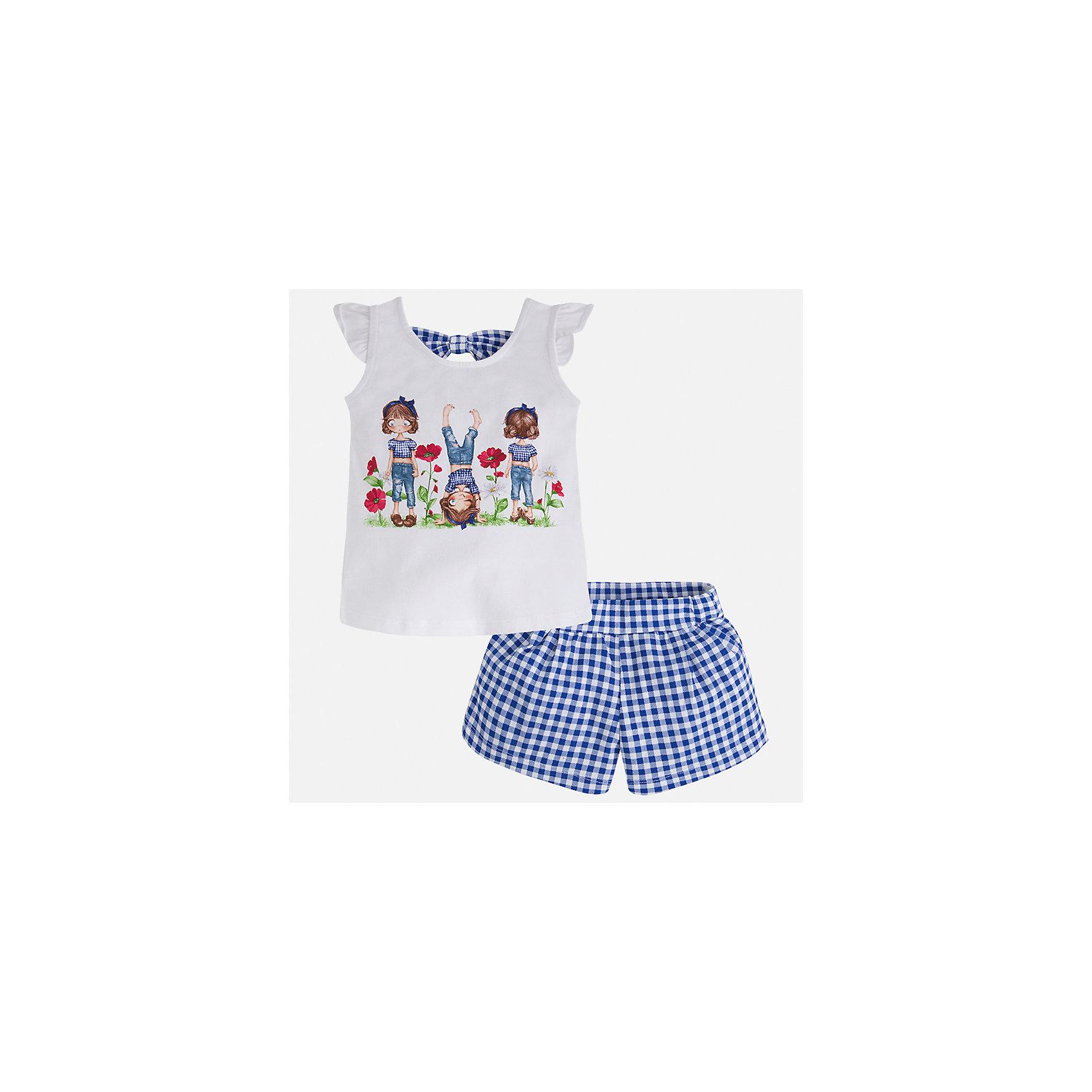 Комплект: футболка с длинным рукавом и шорты для девочки MayoralХарактеристики товара:<br><br>• цвет: белый/синий<br>• состав: 95% хлопок, 5% эластан<br>• комплектация: футболка, шорты<br>• футболка декорирована принтом<br>• шорты в клетку<br>• пояс на резинке<br>• страна бренда: Испания<br><br>Стильный качественный комплект для девочки поможет разнообразить гардероб ребенка и удобно одеться в теплую погоду. Он отлично сочетается с другими предметами. Универсальный цвет позволяет подобрать к вещам верхнюю одежду практически любой расцветки. Интересная отделка модели делает её нарядной и оригинальной. В составе материала - натуральный хлопок, гипоаллергенный, приятный на ощупь, дышащий.<br><br>Одежда, обувь и аксессуары от испанского бренда Mayoral полюбились детям и взрослым по всему миру. Модели этой марки - стильные и удобные. Для их производства используются только безопасные, качественные материалы и фурнитура. Порадуйте ребенка модными и красивыми вещами от Mayoral! <br><br>Комплект для девочки от испанского бренда Mayoral (Майорал) можно купить в нашем интернет-магазине.<br><br>Ширина мм: 191<br>Глубина мм: 10<br>Высота мм: 175<br>Вес г: 273<br>Цвет: синий<br>Возраст от месяцев: 84<br>Возраст до месяцев: 96<br>Пол: Женский<br>Возраст: Детский<br>Размер: 128,134,92,98,104,110,116,122<br>SKU: 5289866