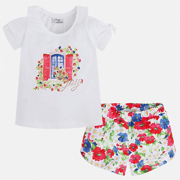 Комплект: футболка и шорты для девочки MayoralКомплекты<br>Характеристики товара:<br><br>• цвет: белый/мультиколор<br>• состав: 95% хлопок, 5% эластан<br>• комплектация: футболка, шорты<br>• футболка декорирована принтом<br>• шорты с принтом<br>• пояс на резинке<br>• страна бренда: Испания<br><br>Стильный качественный комплект для девочки поможет разнообразить гардероб ребенка и удобно одеться в теплую погоду. Он отлично сочетается с другими предметами. Универсальный цвет позволяет подобрать к вещам верхнюю одежду практически любой расцветки. Интересная отделка модели делает её нарядной и оригинальной. В составе материала - натуральный хлопок, гипоаллергенный, приятный на ощупь, дышащий.<br><br>Одежда, обувь и аксессуары от испанского бренда Mayoral полюбились детям и взрослым по всему миру. Модели этой марки - стильные и удобные. Для их производства используются только безопасные, качественные материалы и фурнитура. Порадуйте ребенка модными и красивыми вещами от Mayoral! <br><br>Комплект для девочки от испанского бренда Mayoral (Майорал) можно купить в нашем интернет-магазине.<br>Ширина мм: 191; Глубина мм: 10; Высота мм: 175; Вес г: 273; Цвет: красный; Возраст от месяцев: 18; Возраст до месяцев: 24; Пол: Женский; Возраст: Детский; Размер: 92,134,98,104,110,116,122,128; SKU: 5289875;