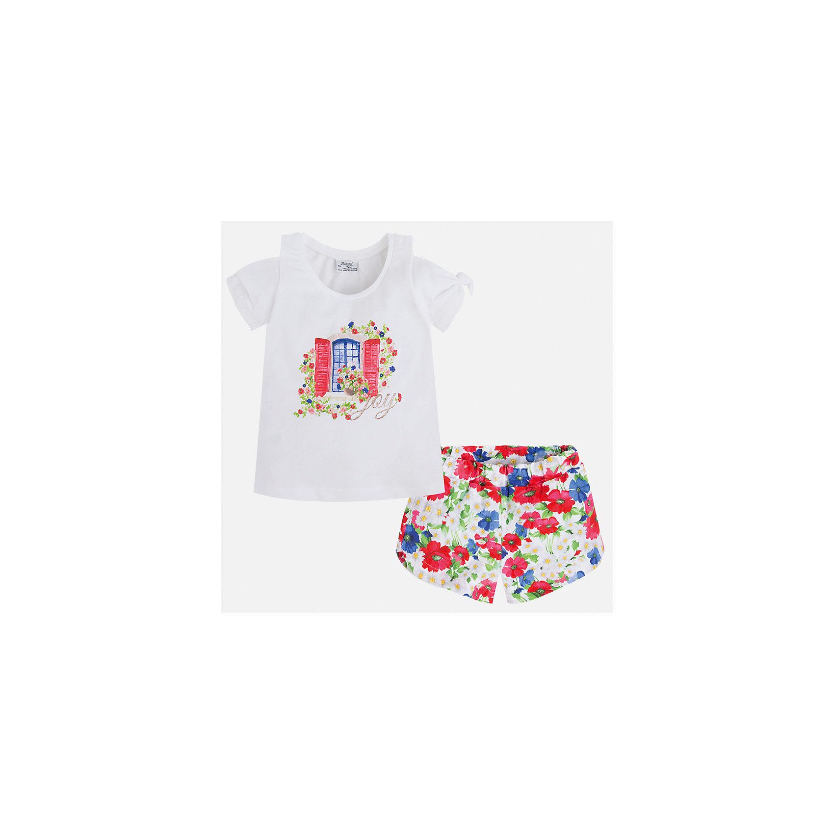 Комплект: футболка и шорты для девочки MayoralКомплекты<br>Характеристики товара:<br><br>• цвет: белый/мультиколор<br>• состав: 95% хлопок, 5% эластан<br>• комплектация: футболка, шорты<br>• футболка декорирована принтом<br>• шорты с принтом<br>• пояс на резинке<br>• страна бренда: Испания<br><br>Стильный качественный комплект для девочки поможет разнообразить гардероб ребенка и удобно одеться в теплую погоду. Он отлично сочетается с другими предметами. Универсальный цвет позволяет подобрать к вещам верхнюю одежду практически любой расцветки. Интересная отделка модели делает её нарядной и оригинальной. В составе материала - натуральный хлопок, гипоаллергенный, приятный на ощупь, дышащий.<br><br>Одежда, обувь и аксессуары от испанского бренда Mayoral полюбились детям и взрослым по всему миру. Модели этой марки - стильные и удобные. Для их производства используются только безопасные, качественные материалы и фурнитура. Порадуйте ребенка модными и красивыми вещами от Mayoral! <br><br>Комплект для девочки от испанского бренда Mayoral (Майорал) можно купить в нашем интернет-магазине.<br><br>Ширина мм: 191<br>Глубина мм: 10<br>Высота мм: 175<br>Вес г: 273<br>Цвет: красный<br>Возраст от месяцев: 18<br>Возраст до месяцев: 24<br>Пол: Женский<br>Возраст: Детский<br>Размер: 92,134,98,104,110,116,122,128<br>SKU: 5289875