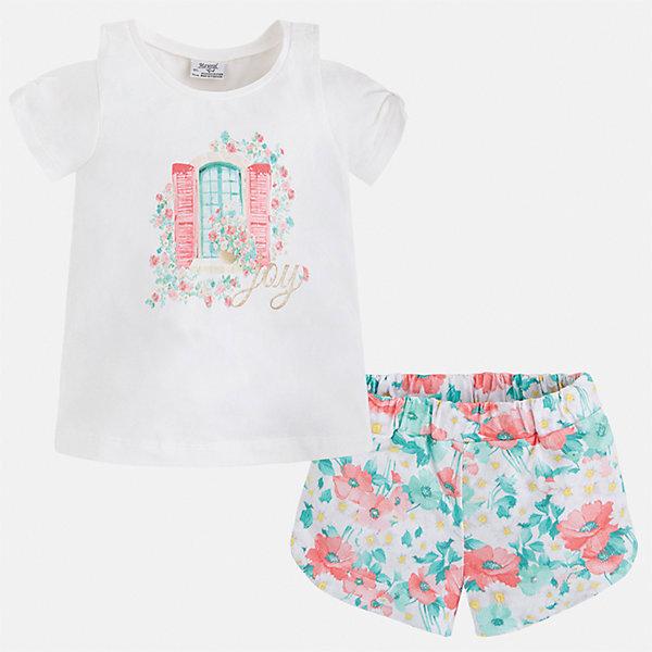Комплект: футболка с длинным рукавом и шорты для девочки MayoralКомплекты<br>Характеристики товара:<br><br>• цвет: белый/мультиколор<br>• состав: 95% хлопок, 5% эластан<br>• комплектация: футболка, шорты<br>• футболка декорирована принтом<br>• шорты с принтом<br>• пояс на резинке<br>• страна бренда: Испания<br><br>Стильный качественный комплект для девочки поможет разнообразить гардероб ребенка и удобно одеться в теплую погоду. Он отлично сочетается с другими предметами. Универсальный цвет позволяет подобрать к вещам верхнюю одежду практически любой расцветки. Интересная отделка модели делает её нарядной и оригинальной. В составе материала - натуральный хлопок, гипоаллергенный, приятный на ощупь, дышащий.<br><br>Одежда, обувь и аксессуары от испанского бренда Mayoral полюбились детям и взрослым по всему миру. Модели этой марки - стильные и удобные. Для их производства используются только безопасные, качественные материалы и фурнитура. Порадуйте ребенка модными и красивыми вещами от Mayoral! <br><br>Комплект для девочки от испанского бренда Mayoral (Майорал) можно купить в нашем интернет-магазине.<br><br>Ширина мм: 191<br>Глубина мм: 10<br>Высота мм: 175<br>Вес г: 273<br>Цвет: синий<br>Возраст от месяцев: 18<br>Возраст до месяцев: 24<br>Пол: Женский<br>Возраст: Детский<br>Размер: 92,134,128,122,116,110,104,98<br>SKU: 5289884