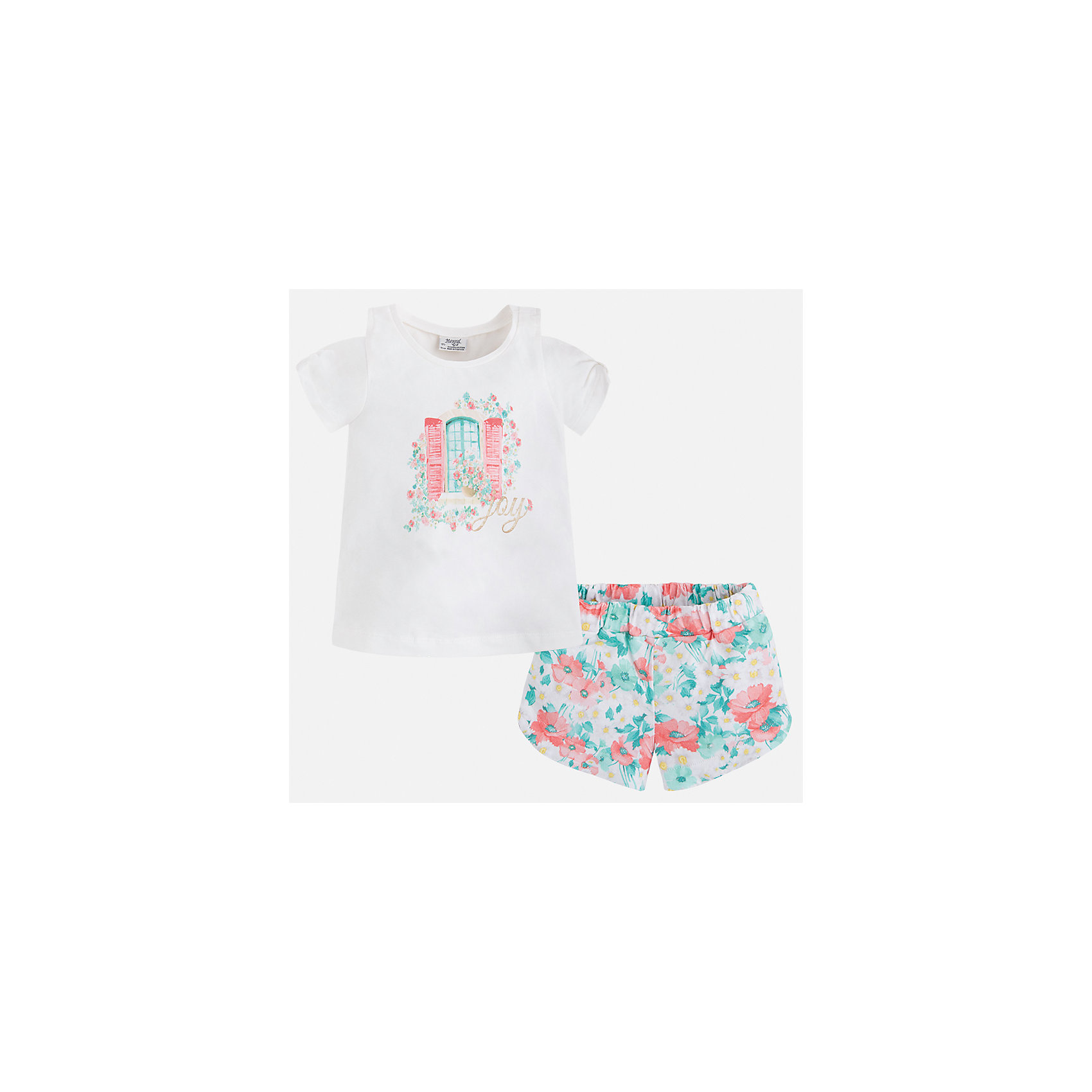 Комплект: футболка с длинным рукавом и шорты для девочки MayoralКомплекты<br>Характеристики товара:<br><br>• цвет: белый/мультиколор<br>• состав: 95% хлопок, 5% эластан<br>• комплектация: футболка, шорты<br>• футболка декорирована принтом<br>• шорты с принтом<br>• пояс на резинке<br>• страна бренда: Испания<br><br>Стильный качественный комплект для девочки поможет разнообразить гардероб ребенка и удобно одеться в теплую погоду. Он отлично сочетается с другими предметами. Универсальный цвет позволяет подобрать к вещам верхнюю одежду практически любой расцветки. Интересная отделка модели делает её нарядной и оригинальной. В составе материала - натуральный хлопок, гипоаллергенный, приятный на ощупь, дышащий.<br><br>Одежда, обувь и аксессуары от испанского бренда Mayoral полюбились детям и взрослым по всему миру. Модели этой марки - стильные и удобные. Для их производства используются только безопасные, качественные материалы и фурнитура. Порадуйте ребенка модными и красивыми вещами от Mayoral! <br><br>Комплект для девочки от испанского бренда Mayoral (Майорал) можно купить в нашем интернет-магазине.<br><br>Ширина мм: 191<br>Глубина мм: 10<br>Высота мм: 175<br>Вес г: 273<br>Цвет: синий<br>Возраст от месяцев: 24<br>Возраст до месяцев: 36<br>Пол: Женский<br>Возраст: Детский<br>Размер: 98,104,110,116,122,128,134,92<br>SKU: 5289884