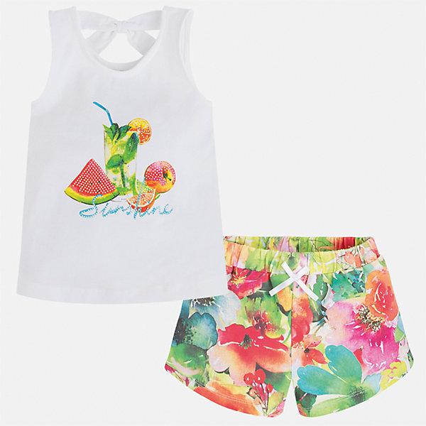 Комплект: футболка и шорты для девочки MayoralКомплекты<br>Характеристики товара:<br><br>• цвет: белый/мультиколор<br>• состав: 92% хлопок, 8% эластан<br>• комплектация: майка, шорты<br>• майка декорирована принтом<br>• шорты из материала с принтом<br>• пояс на резинке<br>• страна бренда: Испания<br><br>Стильный качественный комплект для девочки поможет разнообразить гардероб ребенка и удобно одеться в теплую погоду. Он отлично сочетается с другими предметами. Универсальный цвет позволяет подобрать к вещам верхнюю одежду практически любой расцветки. Интересная отделка модели делает её нарядной и оригинальной. В составе материала - натуральный хлопок, гипоаллергенный, приятный на ощупь, дышащий.<br><br>Одежда, обувь и аксессуары от испанского бренда Mayoral полюбились детям и взрослым по всему миру. Модели этой марки - стильные и удобные. Для их производства используются только безопасные, качественные материалы и фурнитура. Порадуйте ребенка модными и красивыми вещами от Mayoral! <br><br>Комплект для девочки от испанского бренда Mayoral (Майорал) можно купить в нашем интернет-магазине.<br><br>Ширина мм: 191<br>Глубина мм: 10<br>Высота мм: 175<br>Вес г: 273<br>Цвет: зеленый<br>Возраст от месяцев: 72<br>Возраст до месяцев: 84<br>Пол: Женский<br>Возраст: Детский<br>Размер: 122,128,134,92,98,104,110,116<br>SKU: 5289893