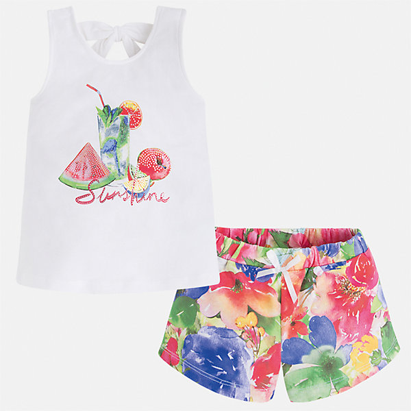 Комплект: футболка и шорты для девочки MayoralВесенняя капель<br>Характеристики товара:<br><br>• цвет: белый/мультиколор<br>• состав: текстиль<br>• комплектация: майка, шорты<br>• майка декорирована принтом<br>• шорты из материала с принтом<br>• пояс на резинке<br>• страна бренда: Испания<br><br>Стильный качественный комплект для девочки поможет разнообразить гардероб ребенка и удобно одеться в теплую погоду. Он отлично сочетается с другими предметами. Универсальный цвет позволяет подобрать к вещам верхнюю одежду практически любой расцветки. Интересная отделка модели делает её нарядной и оригинальной. В составе материала - натуральный хлопок, гипоаллергенный, приятный на ощупь, дышащий.<br><br>Одежда, обувь и аксессуары от испанского бренда Mayoral полюбились детям и взрослым по всему миру. Модели этой марки - стильные и удобные. Для их производства используются только безопасные, качественные материалы и фурнитура. Порадуйте ребенка модными и красивыми вещами от Mayoral! <br><br>Комплект для девочки от испанского бренда Mayoral (Майорал) можно купить в нашем интернет-магазине.<br><br>Ширина мм: 191<br>Глубина мм: 10<br>Высота мм: 175<br>Вес г: 273<br>Цвет: красный<br>Возраст от месяцев: 36<br>Возраст до месяцев: 48<br>Пол: Женский<br>Возраст: Детский<br>Размер: 104,98,92,134,128,122,116,110<br>SKU: 5289902
