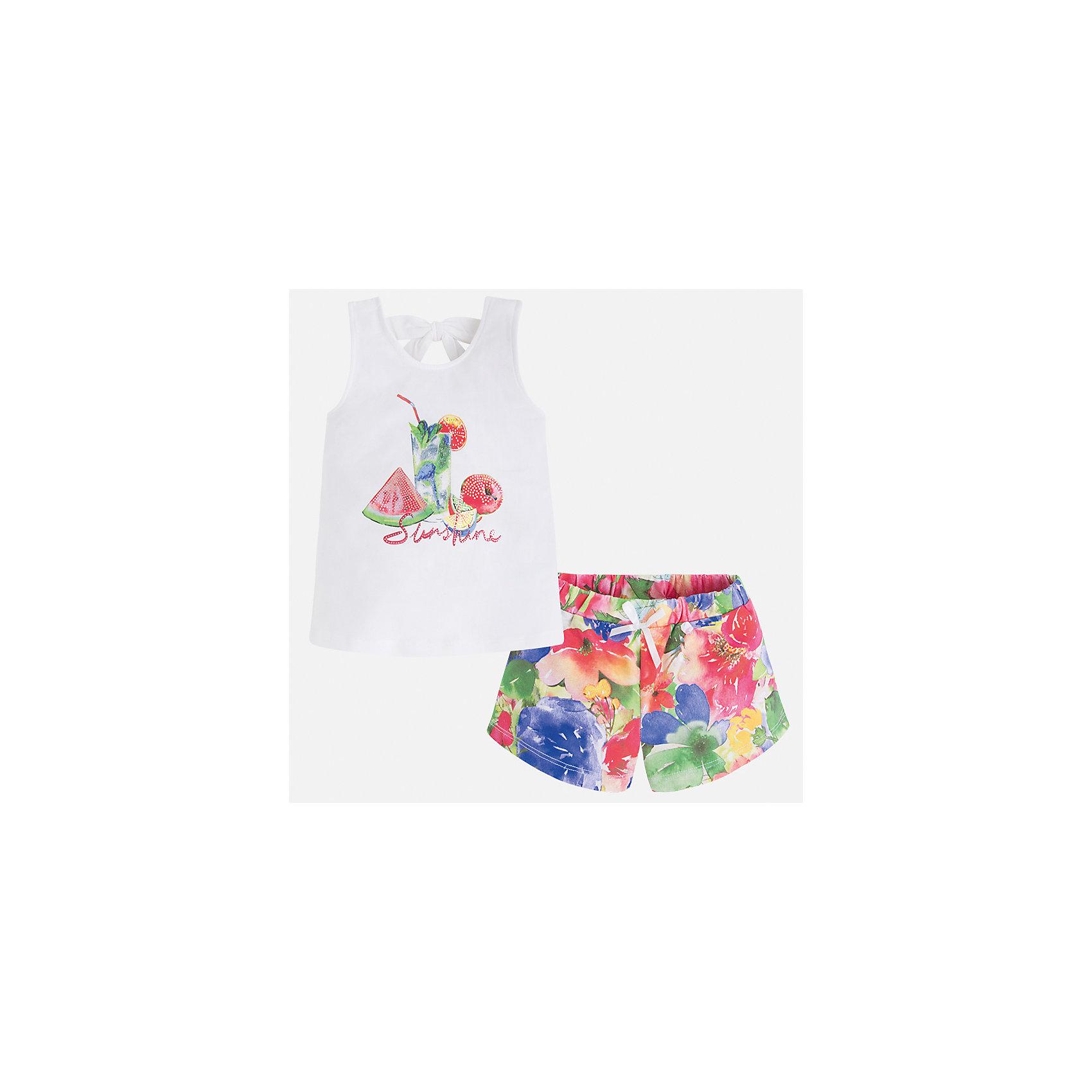 Комплект: футболка и шорты для девочки MayoralВесенняя капель<br>Характеристики товара:<br><br>• цвет: белый/мультиколор<br>• состав: текстиль<br>• комплектация: майка, шорты<br>• майка декорирована принтом<br>• шорты из материала с принтом<br>• пояс на резинке<br>• страна бренда: Испания<br><br>Стильный качественный комплект для девочки поможет разнообразить гардероб ребенка и удобно одеться в теплую погоду. Он отлично сочетается с другими предметами. Универсальный цвет позволяет подобрать к вещам верхнюю одежду практически любой расцветки. Интересная отделка модели делает её нарядной и оригинальной. В составе материала - натуральный хлопок, гипоаллергенный, приятный на ощупь, дышащий.<br><br>Одежда, обувь и аксессуары от испанского бренда Mayoral полюбились детям и взрослым по всему миру. Модели этой марки - стильные и удобные. Для их производства используются только безопасные, качественные материалы и фурнитура. Порадуйте ребенка модными и красивыми вещами от Mayoral! <br><br>Комплект для девочки от испанского бренда Mayoral (Майорал) можно купить в нашем интернет-магазине.<br><br>Ширина мм: 191<br>Глубина мм: 10<br>Высота мм: 175<br>Вес г: 273<br>Цвет: красный<br>Возраст от месяцев: 96<br>Возраст до месяцев: 108<br>Пол: Женский<br>Возраст: Детский<br>Размер: 134,92,98,104,110,116,122,128<br>SKU: 5289902