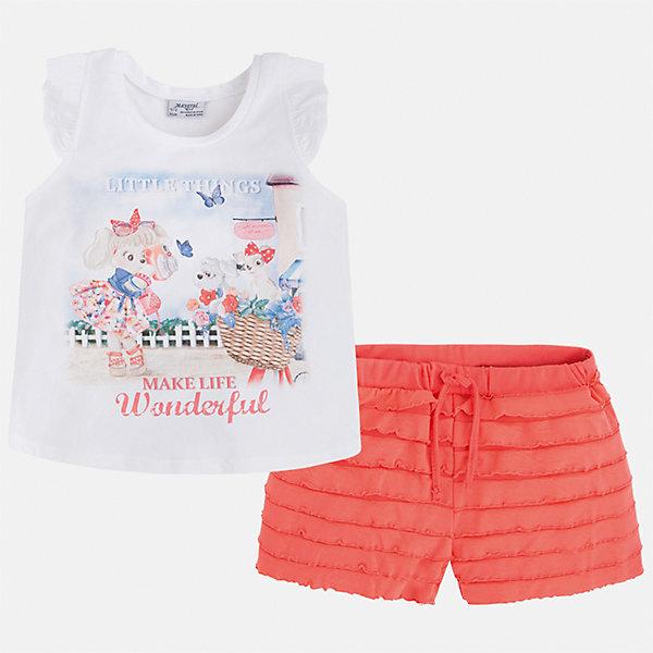 Комплект: футболка и шорты для девочки MayoralКомплекты<br>Характеристики товара:<br><br>• цвет: белый/оранжевый<br>• состав: 95% хлопок, 5% эластан<br>• комплектация: футболка, шорты<br>• футболка декорирована принтом<br>• шорты с оборками<br>• пояс на шнурке<br>• страна бренда: Испания<br><br>Модный красивый комплект для девочки поможет разнообразить гардероб ребенка и удобно одеться в теплую погоду. Он отлично сочетается с другими предметами. Универсальный цвет позволяет подобрать к вещам верхнюю одежду практически любой расцветки. Интересная отделка модели делает её нарядной и оригинальной. В составе материала - натуральный хлопок, гипоаллергенный, приятный на ощупь, дышащий.<br><br>Одежда, обувь и аксессуары от испанского бренда Mayoral полюбились детям и взрослым по всему миру. Модели этой марки - стильные и удобные. Для их производства используются только безопасные, качественные материалы и фурнитура. Порадуйте ребенка модными и красивыми вещами от Mayoral! <br><br>Комплект для девочки от испанского бренда Mayoral (Майорал) можно купить в нашем интернет-магазине.<br>Ширина мм: 191; Глубина мм: 10; Высота мм: 175; Вес г: 273; Цвет: красный; Возраст от месяцев: 24; Возраст до месяцев: 36; Пол: Женский; Возраст: Детский; Размер: 98,92,116,110,104; SKU: 5289911;