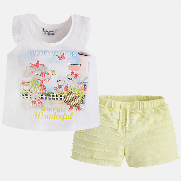Комплект: футболка с длинным рукавом и шорты для девочки MayoralКомплекты<br>Характеристики товара:<br><br>• цвет: белый/жёлтый<br>• состав: 95% хлопок, 5% эластан<br>• комплектация: футболка, шорты<br>• футболка декорирована принтом<br>• шорты с оборками<br>• пояс на шнурке<br>• страна бренда: Испания<br><br>Модный красивый комплект для девочки поможет разнообразить гардероб ребенка и удобно одеться в теплую погоду. Он отлично сочетается с другими предметами. Интересная отделка модели делает её нарядной и оригинальной. В составе материала - натуральный хлопок, гипоаллергенный, приятный на ощупь, дышащий.<br><br>Комплект для девочки от испанского бренда Mayoral (Майорал) можно купить в нашем интернет-магазине.<br>Ширина мм: 191; Глубина мм: 10; Высота мм: 175; Вес г: 273; Цвет: желтый; Возраст от месяцев: 60; Возраст до месяцев: 72; Пол: Женский; Возраст: Детский; Размер: 116,92,98,104,110; SKU: 5289917;