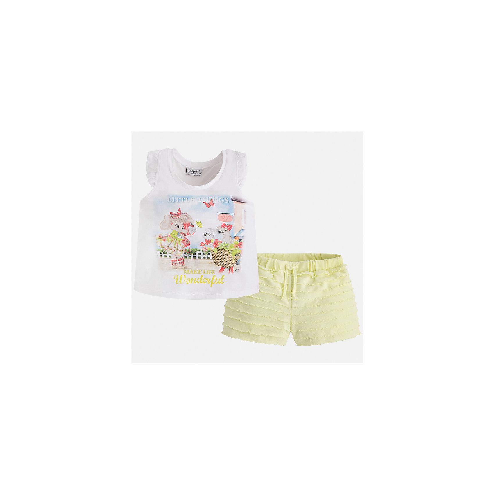 Комплект: футболка с длинным рукавом и шорты для девочки MayoralКомплекты<br>Характеристики товара:<br><br>• цвет: белый/жёлтый<br>• состав: 95% хлопок, 5% эластан<br>• комплектация: футболка, шорты<br>• футболка декорирована принтом<br>• шорты с оборками<br>• пояс на шнурке<br>• страна бренда: Испания<br><br>Модный красивый комплект для девочки поможет разнообразить гардероб ребенка и удобно одеться в теплую погоду. Он отлично сочетается с другими предметами. Интересная отделка модели делает её нарядной и оригинальной. В составе материала - натуральный хлопок, гипоаллергенный, приятный на ощупь, дышащий.<br><br>Комплект для девочки от испанского бренда Mayoral (Майорал) можно купить в нашем интернет-магазине.<br><br>Ширина мм: 191<br>Глубина мм: 10<br>Высота мм: 175<br>Вес г: 273<br>Цвет: желтый<br>Возраст от месяцев: 60<br>Возраст до месяцев: 72<br>Пол: Женский<br>Возраст: Детский<br>Размер: 116,92,98,104,110<br>SKU: 5289917