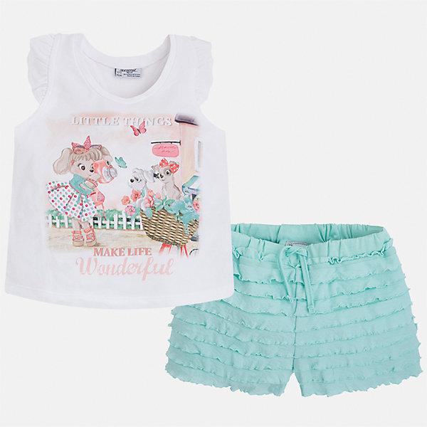 Комплект: футболка с длинным рукавом и шорты для девочки MayoralКомплекты<br>Характеристики товара:<br><br>• цвет: белый/зеленый<br>• состав: 95% хлопок, 5% эластан<br>• комплектация: футболка, шорты<br>• футболка декорирована принтом<br>• шорты с оборками<br>• пояс на шнурке<br>• страна бренда: Испания<br><br>Модный красивый комплект для девочки поможет разнообразить гардероб ребенка и удобно одеться в теплую погоду. Он отлично сочетается с другими предметами. Универсальный цвет позволяет подобрать к вещам верхнюю одежду практически любой расцветки. Интересная отделка модели делает её нарядной и оригинальной. В составе материала - натуральный хлопок, гипоаллергенный, приятный на ощупь, дышащий.<br><br>Одежда, обувь и аксессуары от испанского бренда Mayoral полюбились детям и взрослым по всему миру. Модели этой марки - стильные и удобные. Для их производства используются только безопасные, качественные материалы и фурнитура. Порадуйте ребенка модными и красивыми вещами от Mayoral! <br><br>Комплект для девочки от испанского бренда Mayoral (Майорал) можно купить в нашем интернет-магазине.<br><br>Ширина мм: 191<br>Глубина мм: 10<br>Высота мм: 175<br>Вес г: 273<br>Цвет: зеленый<br>Возраст от месяцев: 48<br>Возраст до месяцев: 60<br>Пол: Женский<br>Возраст: Детский<br>Размер: 92,116,104,98,110<br>SKU: 5289923