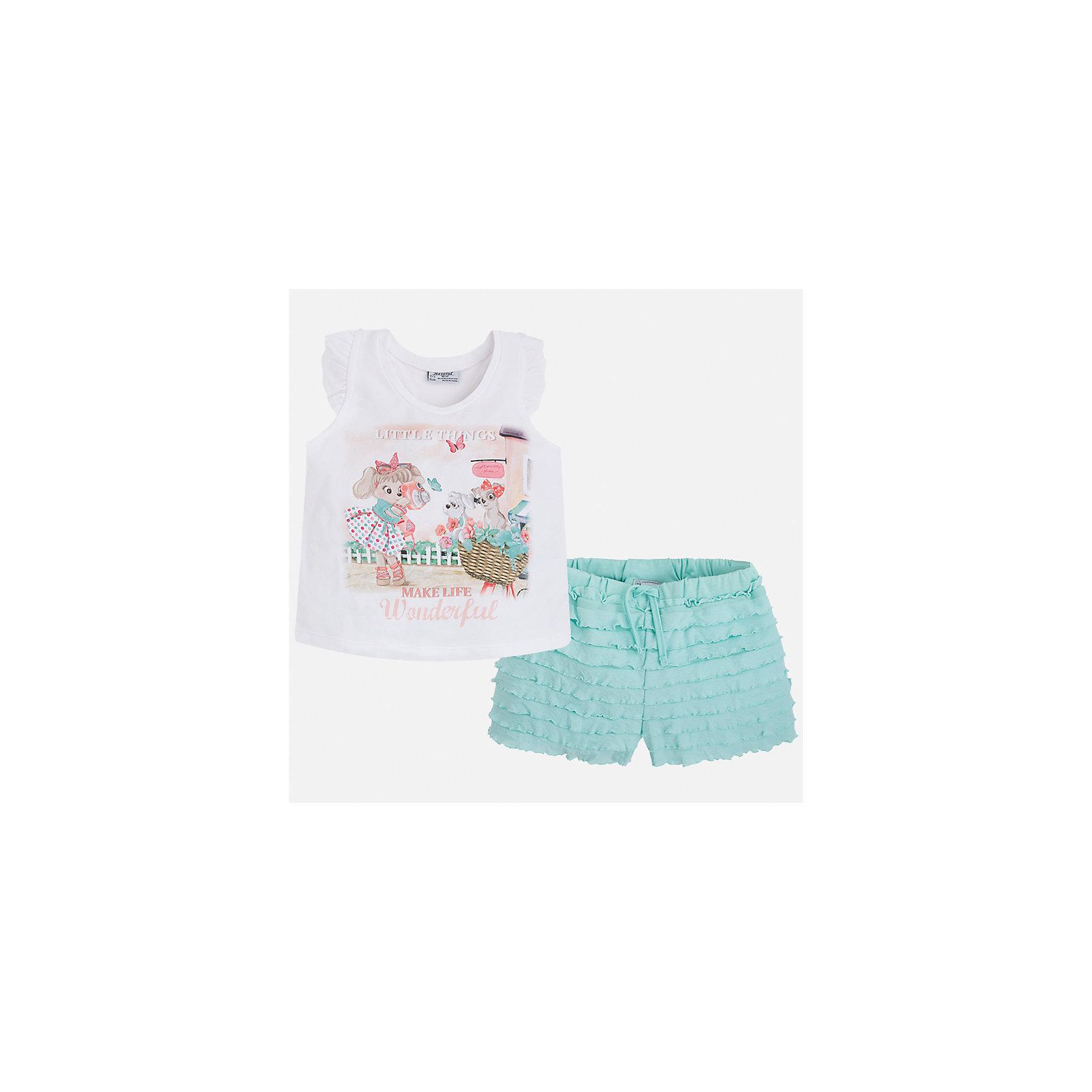 Комплект: футболка с длинным рукавом и шорты для девочки MayoralКомплекты<br>Характеристики товара:<br><br>• цвет: белый/зеленый<br>• состав: 95% хлопок, 5% эластан<br>• комплектация: футболка, шорты<br>• футболка декорирована принтом<br>• шорты с оборками<br>• пояс на шнурке<br>• страна бренда: Испания<br><br>Модный красивый комплект для девочки поможет разнообразить гардероб ребенка и удобно одеться в теплую погоду. Он отлично сочетается с другими предметами. Универсальный цвет позволяет подобрать к вещам верхнюю одежду практически любой расцветки. Интересная отделка модели делает её нарядной и оригинальной. В составе материала - натуральный хлопок, гипоаллергенный, приятный на ощупь, дышащий.<br><br>Одежда, обувь и аксессуары от испанского бренда Mayoral полюбились детям и взрослым по всему миру. Модели этой марки - стильные и удобные. Для их производства используются только безопасные, качественные материалы и фурнитура. Порадуйте ребенка модными и красивыми вещами от Mayoral! <br><br>Комплект для девочки от испанского бренда Mayoral (Майорал) можно купить в нашем интернет-магазине.<br><br>Ширина мм: 191<br>Глубина мм: 10<br>Высота мм: 175<br>Вес г: 273<br>Цвет: зеленый<br>Возраст от месяцев: 24<br>Возраст до месяцев: 36<br>Пол: Женский<br>Возраст: Детский<br>Размер: 98,116,92,104,110<br>SKU: 5289923