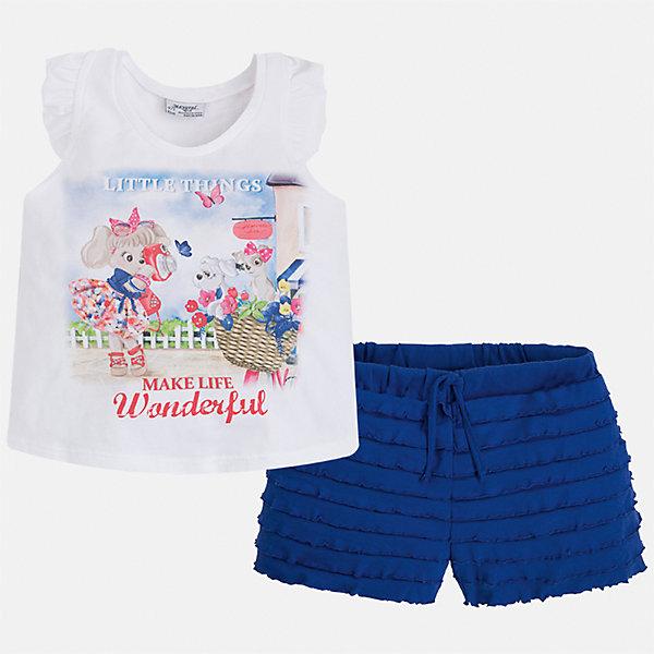Комплект: футболка с длинным рукавом и шорты для девочки MayoralКомплекты<br>Характеристики товара:<br><br>• цвет: белый/синий<br>• состав: 95% хлопок, 5% эластан<br>• комплектация: футболка, шорты<br>• футболка декорирована принтом<br>• шорты с оборками<br>• пояс на шнурке<br>• страна бренда: Испания<br><br>Модный красивый комплект для девочки поможет разнообразить гардероб ребенка и удобно одеться в теплую погоду. Он отлично сочетается с другими предметами. Универсальный цвет позволяет подобрать к вещам верхнюю одежду практически любой расцветки. Интересная отделка модели делает её нарядной и оригинальной. В составе материала - натуральный хлопок, гипоаллергенный, приятный на ощупь, дышащий.<br><br>Одежда, обувь и аксессуары от испанского бренда Mayoral полюбились детям и взрослым по всему миру. Модели этой марки - стильные и удобные. Для их производства используются только безопасные, качественные материалы и фурнитура. Порадуйте ребенка модными и красивыми вещами от Mayoral! <br><br>Комплект для девочки от испанского бренда Mayoral (Майорал) можно купить в нашем интернет-магазине.<br><br>Ширина мм: 191<br>Глубина мм: 10<br>Высота мм: 175<br>Вес г: 273<br>Цвет: синий<br>Возраст от месяцев: 48<br>Возраст до месяцев: 60<br>Пол: Женский<br>Возраст: Детский<br>Размер: 110,104,98,92,122,116<br>SKU: 5289929