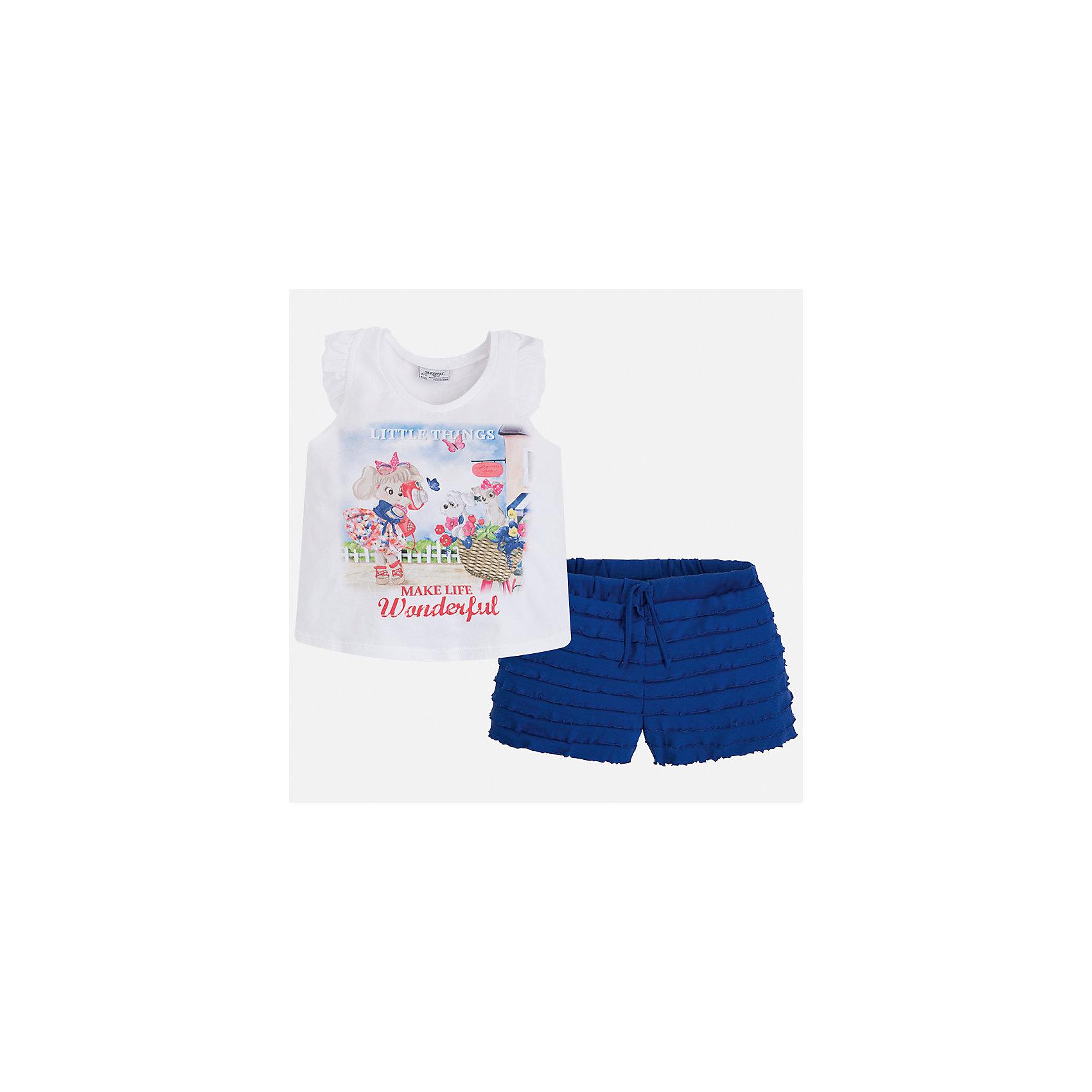Комплект: футболка с длинным рукавом и шорты для девочки MayoralКомплекты<br>Характеристики товара:<br><br>• цвет: белый/синий<br>• состав: 95% хлопок, 5% эластан<br>• комплектация: футболка, шорты<br>• футболка декорирована принтом<br>• шорты с оборками<br>• пояс на шнурке<br>• страна бренда: Испания<br><br>Модный красивый комплект для девочки поможет разнообразить гардероб ребенка и удобно одеться в теплую погоду. Он отлично сочетается с другими предметами. Универсальный цвет позволяет подобрать к вещам верхнюю одежду практически любой расцветки. Интересная отделка модели делает её нарядной и оригинальной. В составе материала - натуральный хлопок, гипоаллергенный, приятный на ощупь, дышащий.<br><br>Одежда, обувь и аксессуары от испанского бренда Mayoral полюбились детям и взрослым по всему миру. Модели этой марки - стильные и удобные. Для их производства используются только безопасные, качественные материалы и фурнитура. Порадуйте ребенка модными и красивыми вещами от Mayoral! <br><br>Комплект для девочки от испанского бренда Mayoral (Майорал) можно купить в нашем интернет-магазине.<br><br>Ширина мм: 191<br>Глубина мм: 10<br>Высота мм: 175<br>Вес г: 273<br>Цвет: синий<br>Возраст от месяцев: 60<br>Возраст до месяцев: 72<br>Пол: Женский<br>Возраст: Детский<br>Размер: 116,122,110,104,98,92<br>SKU: 5289929