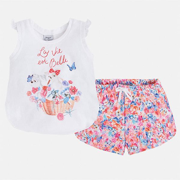 Комплект: футболка и шорты для девочки MayoralКомплекты<br>Характеристики товара:<br><br>• цвет: белый/мультиколор<br>• состав: 95% хлопок, 5% эластан<br>• комплектация: футболка, шорты<br>• футболка декорирована принтом<br>• шорты с цветочным принтом<br>• пояс на шнурке<br>• страна бренда: Испания<br><br>Модный красивый комплект для девочки поможет разнообразить гардероб ребенка и удобно одеться в теплую погоду. Он отлично сочетается с другими предметами. Универсальный цвет позволяет подобрать к вещам верхнюю одежду практически любой расцветки. Интересная отделка модели делает её нарядной и оригинальной. В составе материала - натуральный хлопок, гипоаллергенный, приятный на ощупь, дышащий.<br><br>Одежда, обувь и аксессуары от испанского бренда Mayoral полюбились детям и взрослым по всему миру. Модели этой марки - стильные и удобные. Для их производства используются только безопасные, качественные материалы и фурнитура. Порадуйте ребенка модными и красивыми вещами от Mayoral! <br><br>Комплект для девочки от испанского бренда Mayoral (Майорал) можно купить в нашем интернет-магазине.<br><br>Ширина мм: 191<br>Глубина мм: 10<br>Высота мм: 175<br>Вес г: 273<br>Цвет: розовый<br>Возраст от месяцев: 24<br>Возраст до месяцев: 36<br>Пол: Женский<br>Возраст: Детский<br>Размер: 98,134,128,122,116,110,104<br>SKU: 5289935