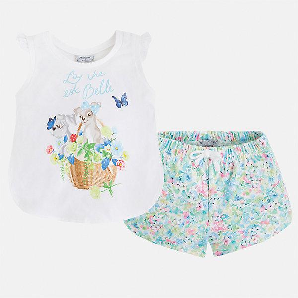 Комплект: футболка и шорты для девочки MayoralКомплекты<br>Характеристики товара:<br><br>• цвет: белый/зеленый принт<br>• состав: 95% хлопок, 5% эластан<br>• комплектация: футболка, шорты<br>• футболка декорирована принтом<br>• шорты с цветочным принтом<br>• пояс на шнурке<br>• страна бренда: Испания<br><br>Модный красивый комплект для девочки поможет разнообразить гардероб ребенка и удобно одеться в теплую погоду. Он отлично сочетается с другими предметами. Универсальный цвет позволяет подобрать к вещам верхнюю одежду практически любой расцветки. Интересная отделка модели делает её нарядной и оригинальной. В составе материала - натуральный хлопок, гипоаллергенный, приятный на ощупь, дышащий.<br><br>Одежда, обувь и аксессуары от испанского бренда Mayoral полюбились детям и взрослым по всему миру. Модели этой марки - стильные и удобные. Для их производства используются только безопасные, качественные материалы и фурнитура. Порадуйте ребенка модными и красивыми вещами от Mayoral! <br><br>Комплект для девочки от испанского бренда Mayoral (Майорал) можно купить в нашем интернет-магазине.<br><br>Ширина мм: 191<br>Глубина мм: 10<br>Высота мм: 175<br>Вес г: 273<br>Цвет: зеленый<br>Возраст от месяцев: 24<br>Возраст до месяцев: 36<br>Пол: Женский<br>Возраст: Детский<br>Размер: 98,134,128,122,116,110,104<br>SKU: 5289943