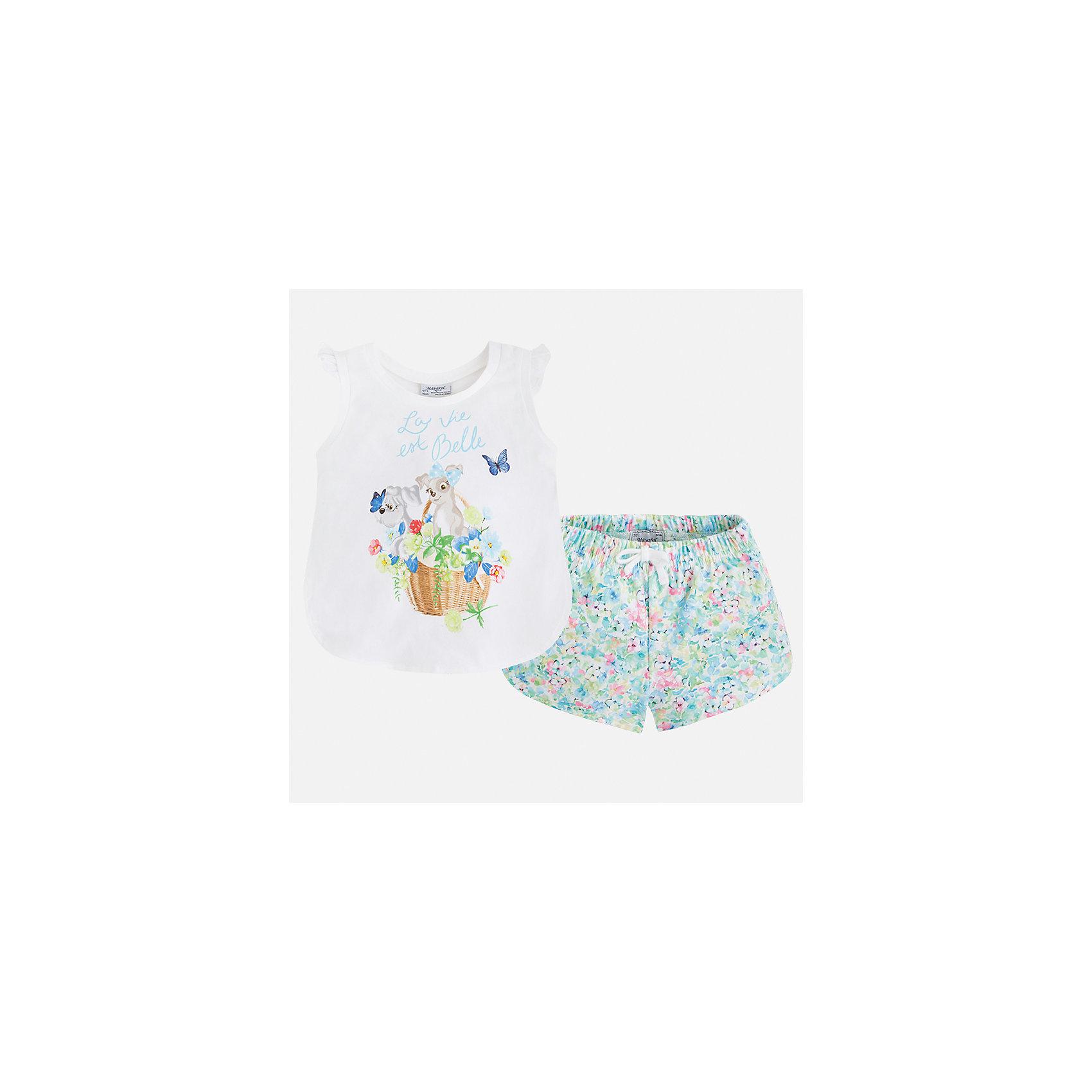 Комплект: футболка и шорты для девочки MayoralКомплекты<br>Характеристики товара:<br><br>• цвет: белый/зеленый принт<br>• состав: 95% хлопок, 5% эластан<br>• комплектация: футболка, шорты<br>• футболка декорирована принтом<br>• шорты с цветочным принтом<br>• пояс на шнурке<br>• страна бренда: Испания<br><br>Модный красивый комплект для девочки поможет разнообразить гардероб ребенка и удобно одеться в теплую погоду. Он отлично сочетается с другими предметами. Универсальный цвет позволяет подобрать к вещам верхнюю одежду практически любой расцветки. Интересная отделка модели делает её нарядной и оригинальной. В составе материала - натуральный хлопок, гипоаллергенный, приятный на ощупь, дышащий.<br><br>Одежда, обувь и аксессуары от испанского бренда Mayoral полюбились детям и взрослым по всему миру. Модели этой марки - стильные и удобные. Для их производства используются только безопасные, качественные материалы и фурнитура. Порадуйте ребенка модными и красивыми вещами от Mayoral! <br><br>Комплект для девочки от испанского бренда Mayoral (Майорал) можно купить в нашем интернет-магазине.<br><br>Ширина мм: 191<br>Глубина мм: 10<br>Высота мм: 175<br>Вес г: 273<br>Цвет: зеленый<br>Возраст от месяцев: 24<br>Возраст до месяцев: 36<br>Пол: Женский<br>Возраст: Детский<br>Размер: 98,134,104,110,116,122,128<br>SKU: 5289943