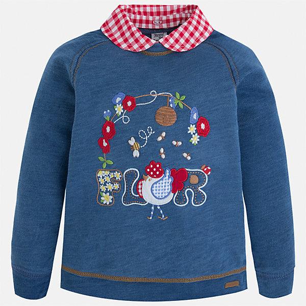 Толстовка для девочки MayoralТолстовки<br>Характеристики товара:<br><br>• цвет: синий<br>• состав: 100% хлопок<br>• комбинированный материал<br>• воротник отложной<br>• с длинными рукавами <br>• имитация двухслойности<br>• страна бренда: Испания<br><br>Удобный и красивый свитер для девочки поможет разнообразить гардероб ребенка и украсить наряд. Он отлично сочетается и с юбками, и с брюками. Универсальный цвет позволяет подобрать к вещи низ различных расцветок. Интересная отделка модели делает её нарядной и оригинальной. В составе материала - натуральный хлопок, гипоаллергенный, приятный на ощупь, дышащий.<br><br>Одежда, обувь и аксессуары от испанского бренда Mayoral полюбились детям и взрослым по всему миру. Модели этой марки - стильные и удобные. Для их производства используются только безопасные, качественные материалы и фурнитура. Порадуйте ребенка модными и красивыми вещами от Mayoral! <br><br>Свитер для девочки от испанского бренда Mayoral (Майорал) можно купить в нашем интернет-магазине.<br><br>Ширина мм: 190<br>Глубина мм: 74<br>Высота мм: 229<br>Вес г: 236<br>Цвет: голубой<br>Возраст от месяцев: 24<br>Возраст до месяцев: 36<br>Пол: Женский<br>Возраст: Детский<br>Размер: 98,92,116,110,104<br>SKU: 5290005