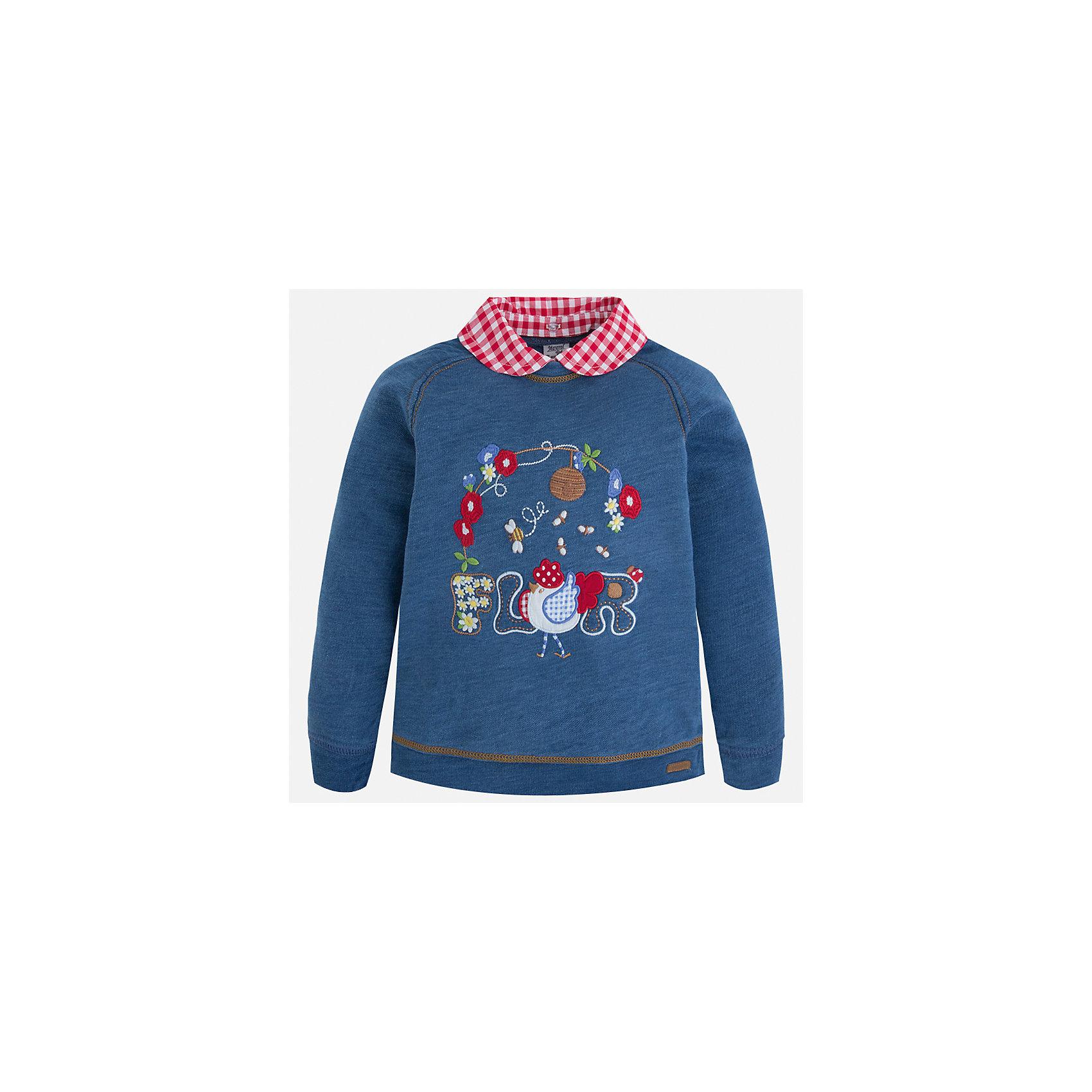 Толстовка для девочки MayoralТолстовки<br>Характеристики товара:<br><br>• цвет: синий<br>• состав: 100% хлопок<br>• комбинированный материал<br>• воротник отложной<br>• с длинными рукавами <br>• имитация двухслойности<br>• страна бренда: Испания<br><br>Удобный и красивый свитер для девочки поможет разнообразить гардероб ребенка и украсить наряд. Он отлично сочетается и с юбками, и с брюками. Универсальный цвет позволяет подобрать к вещи низ различных расцветок. Интересная отделка модели делает её нарядной и оригинальной. В составе материала - натуральный хлопок, гипоаллергенный, приятный на ощупь, дышащий.<br><br>Одежда, обувь и аксессуары от испанского бренда Mayoral полюбились детям и взрослым по всему миру. Модели этой марки - стильные и удобные. Для их производства используются только безопасные, качественные материалы и фурнитура. Порадуйте ребенка модными и красивыми вещами от Mayoral! <br><br>Свитер для девочки от испанского бренда Mayoral (Майорал) можно купить в нашем интернет-магазине.<br><br>Ширина мм: 190<br>Глубина мм: 74<br>Высота мм: 229<br>Вес г: 236<br>Цвет: голубой<br>Возраст от месяцев: 18<br>Возраст до месяцев: 24<br>Пол: Женский<br>Возраст: Детский<br>Размер: 92,116,98,104,110<br>SKU: 5290005